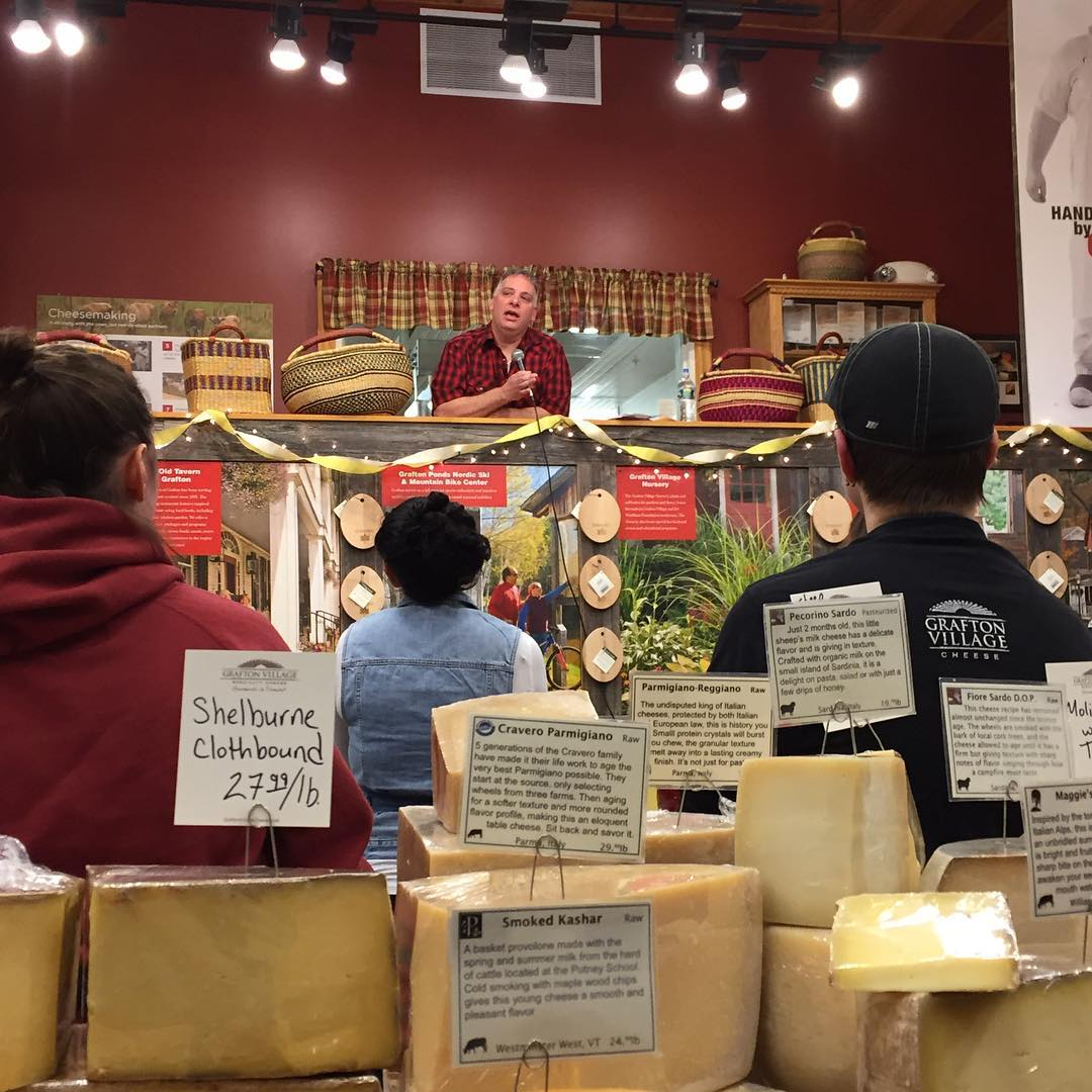Gordon sharing the aged cheddar love at Grafton, photo by Shelburne Farms