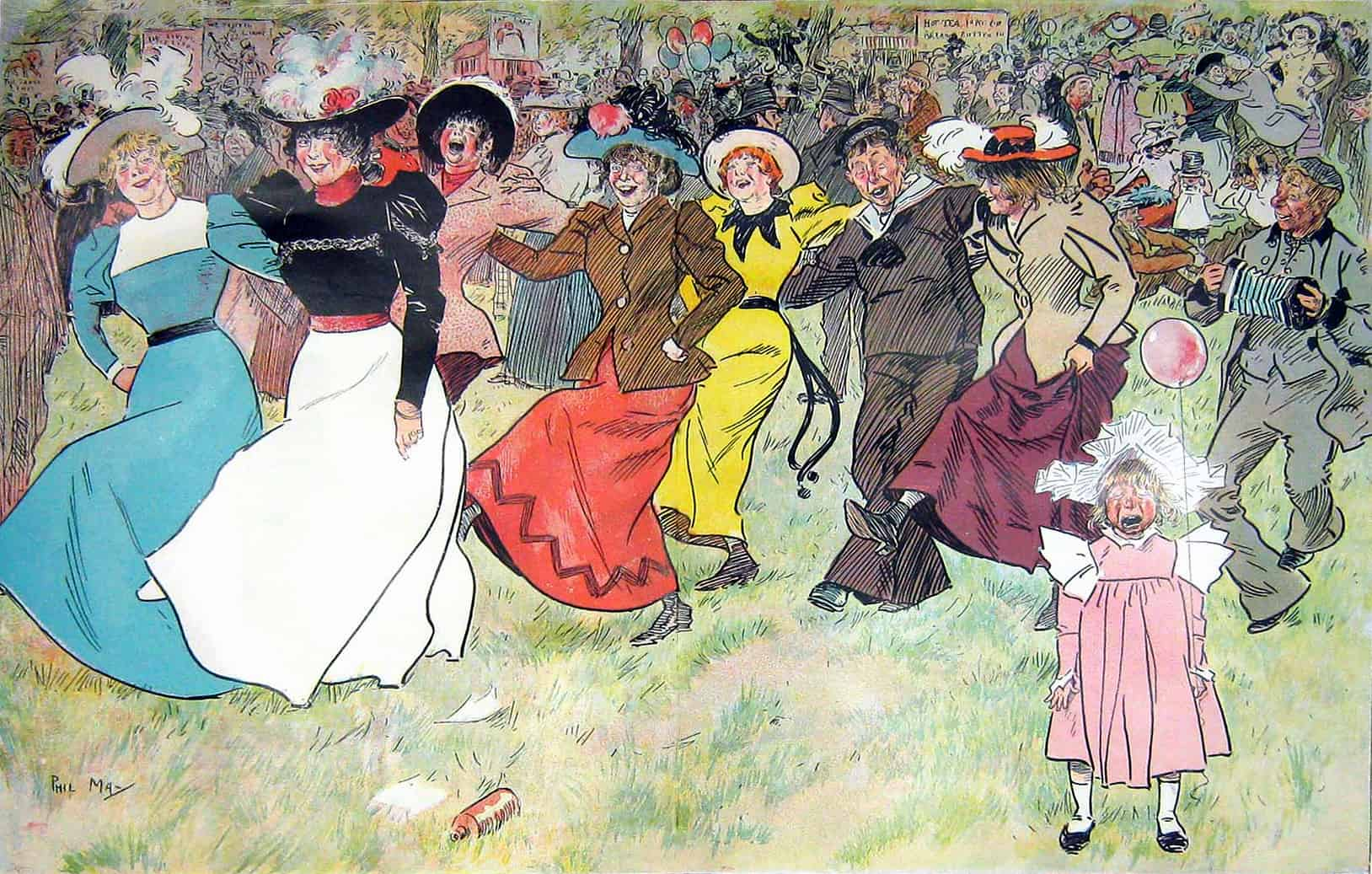 Cockney Carnival in 'Appy 'Ampstead  by Punch cartoonist Phil May (1864-1903)