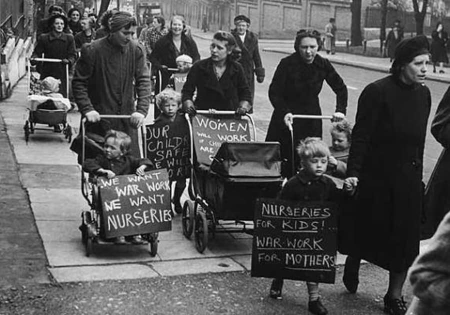 Hampstead mothers demand nurseries for their children so they can work for the war effort, circa 1942