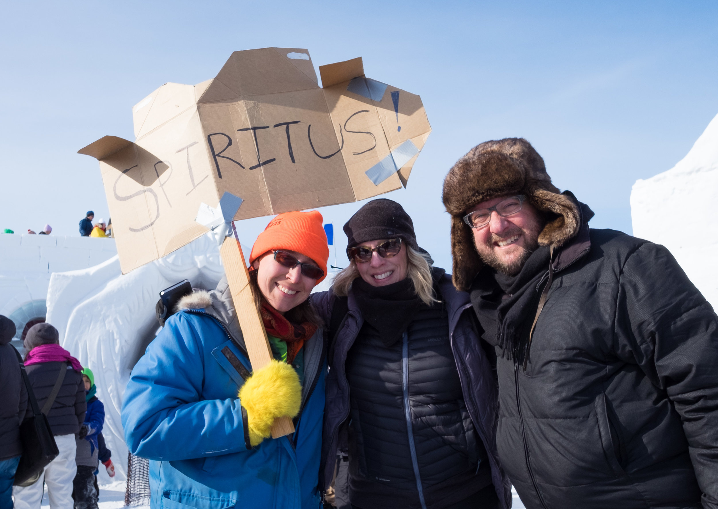 Spiritus Choir in Yellowknife at Snowking festival - Tim Shants Carmen Braden Heather Slater and Sign.jpg