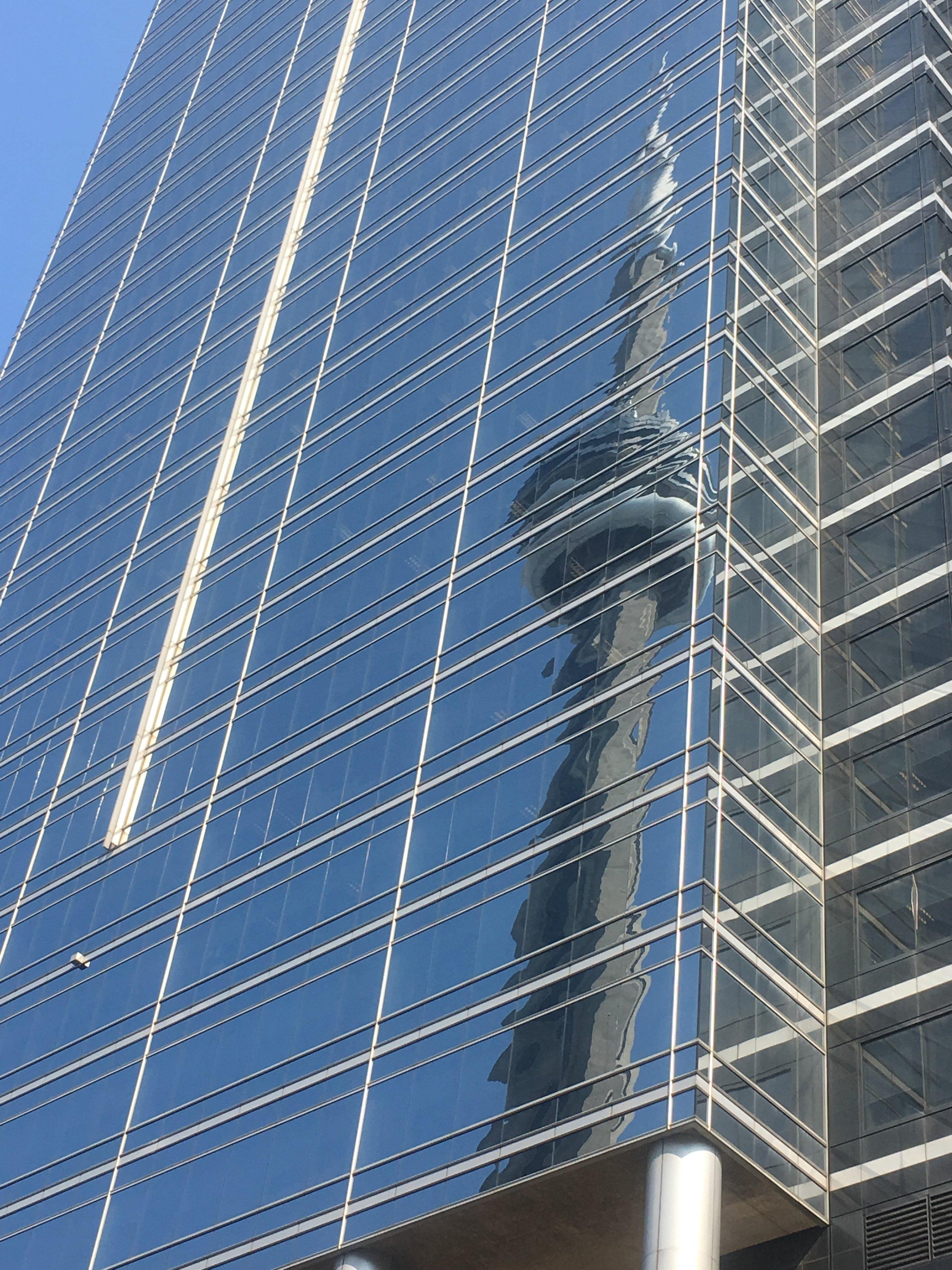 TSO Chamber Soloists premiere - CN Tower reflection.JPG