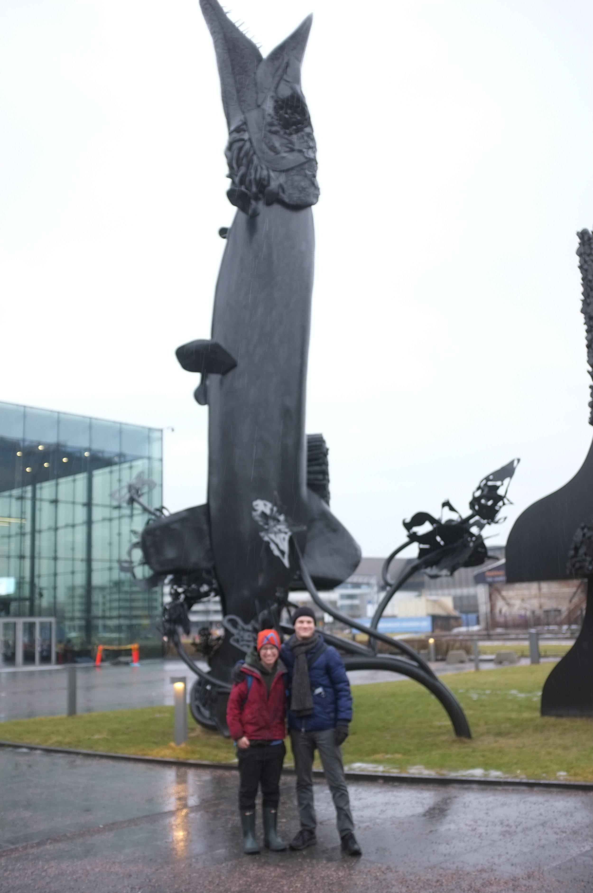 Helsinki - Jackfish Statue and JOnas and Carmen.JPG