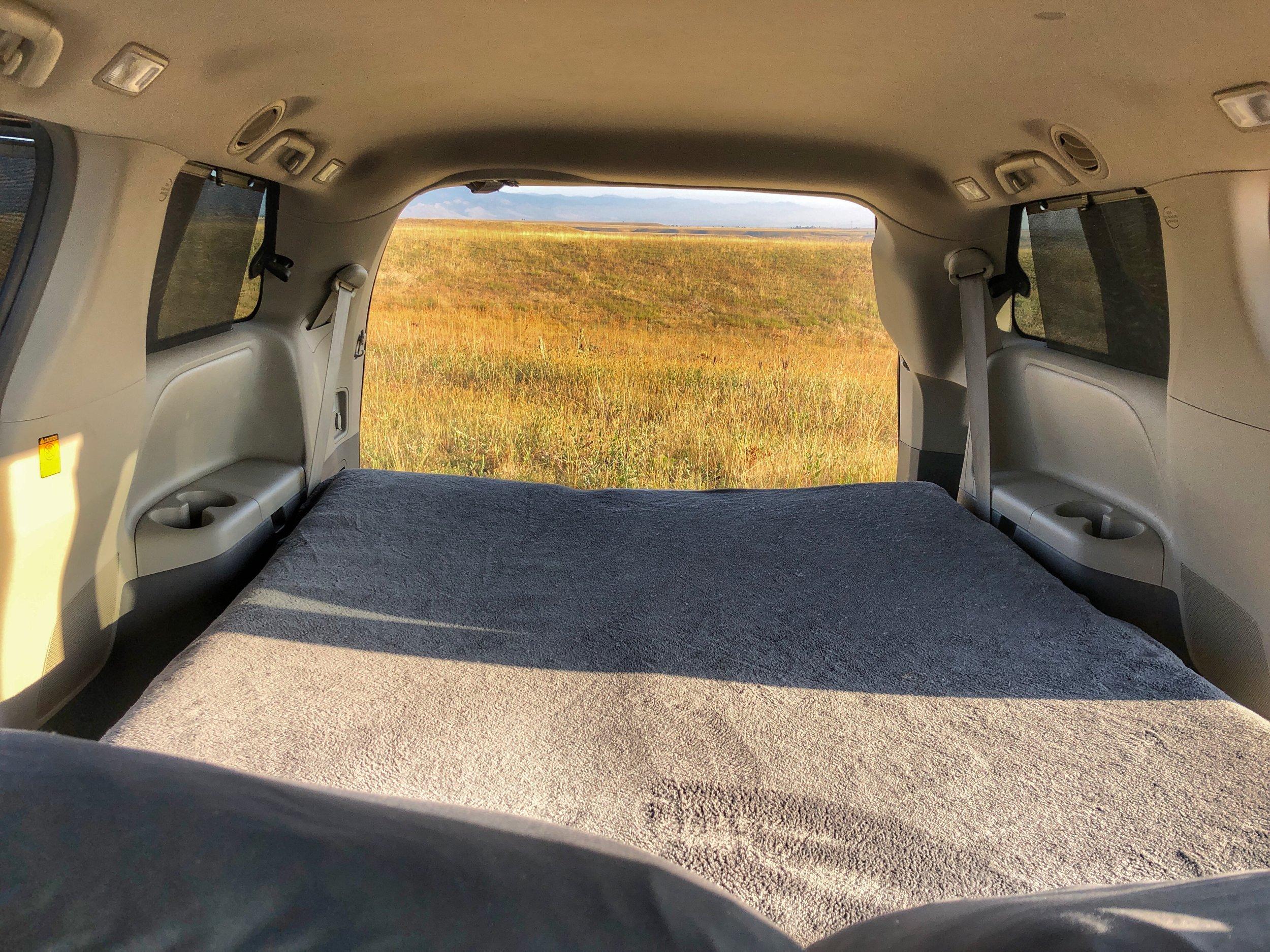 Minivan bed rear view