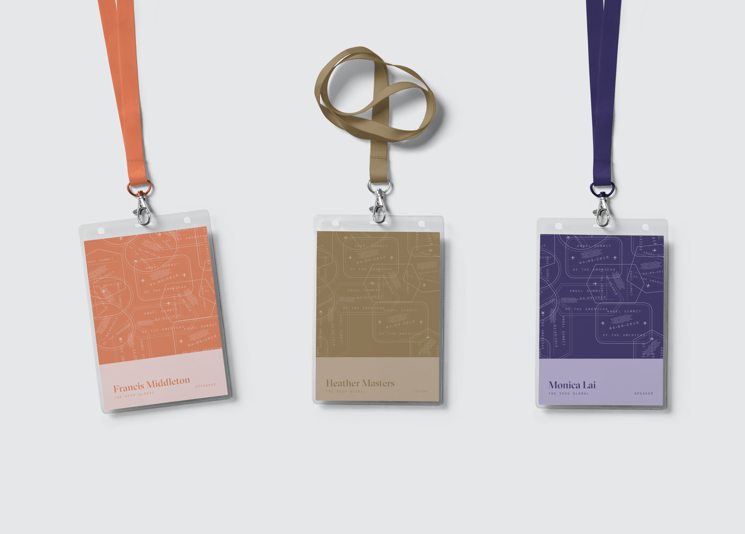 The Angel Summit branding uses the same typefaces, travel-inspired imagery, and several of the same colours.