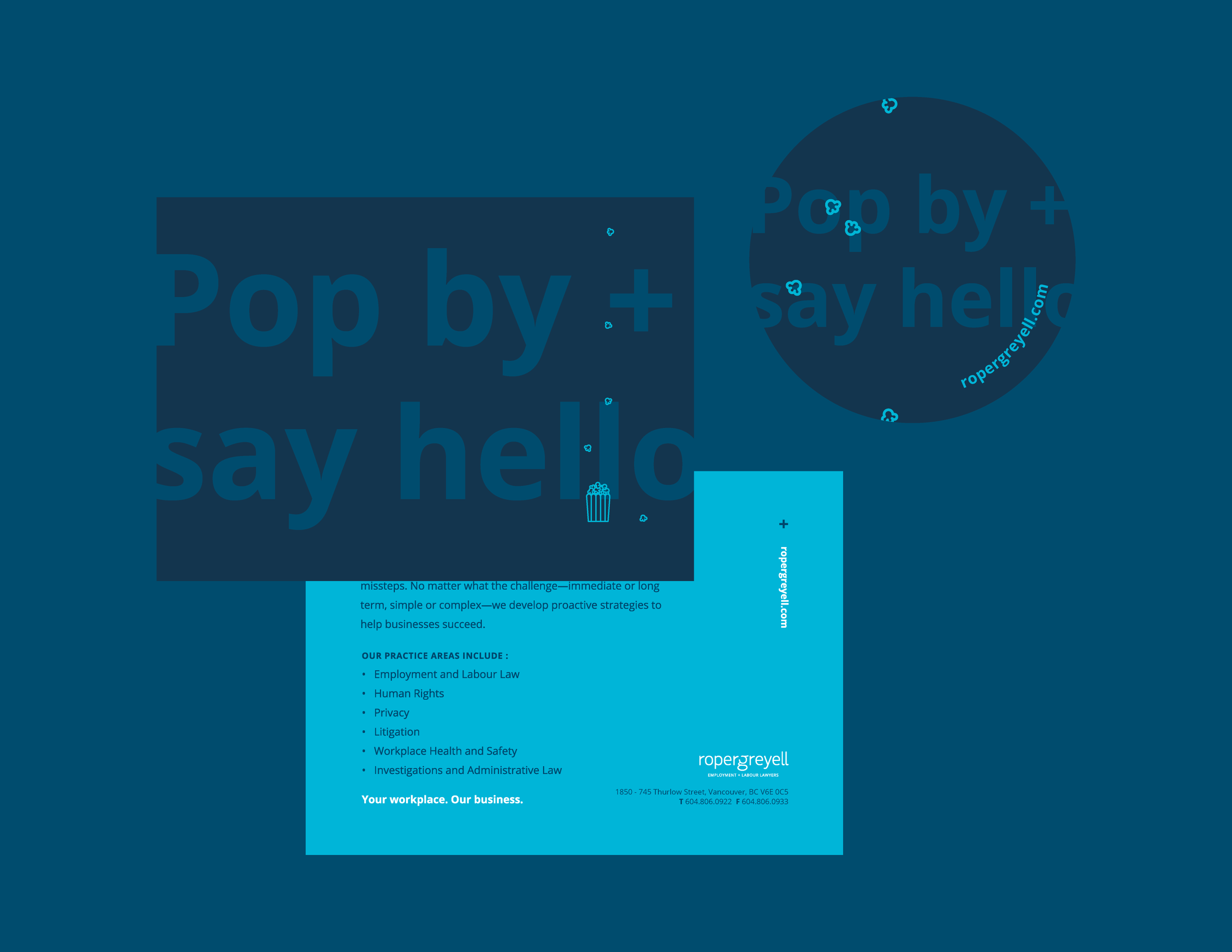 Copywriting, postcard, and sticker design for a tradeshow display which, happily, included popcorn swag bags.