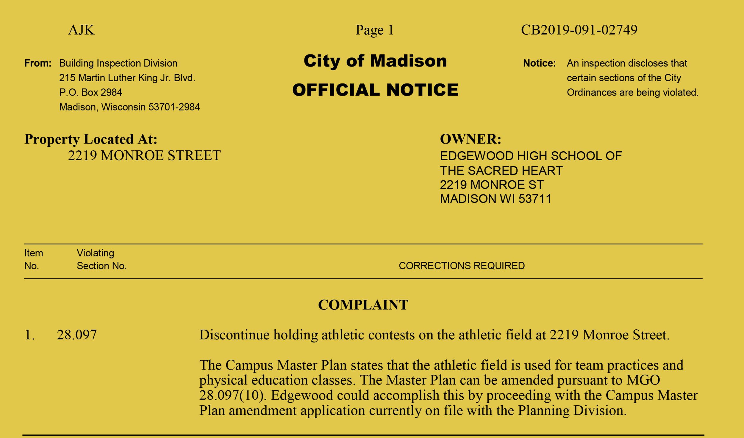 Read the  notice of violation .