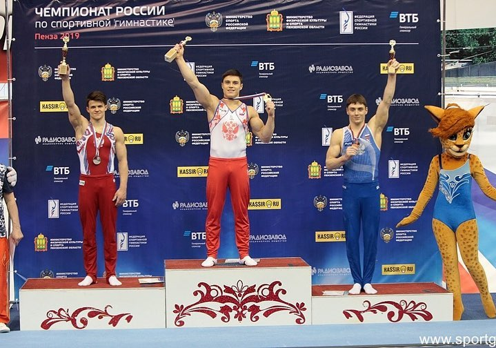Nikita Nagornyy topped six out of seven podiums at the Russian Championships in Penza this past weekend. Here, the parallel bars podium. Photo: Elena Mikhailovna/sportgymrus.ru