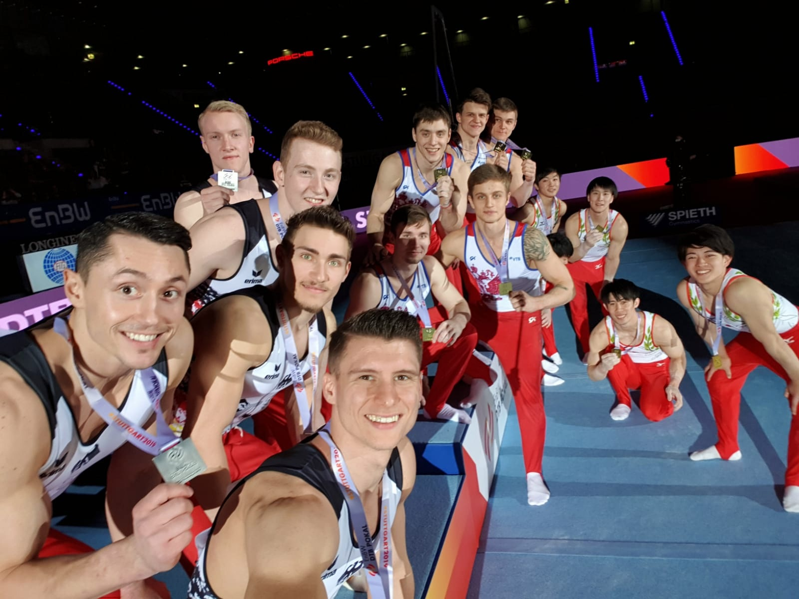 The podium finishers gather for a selfie at the Porsche Arena in Stuttgart. Photo courtesy EnBW DTB Pokal.