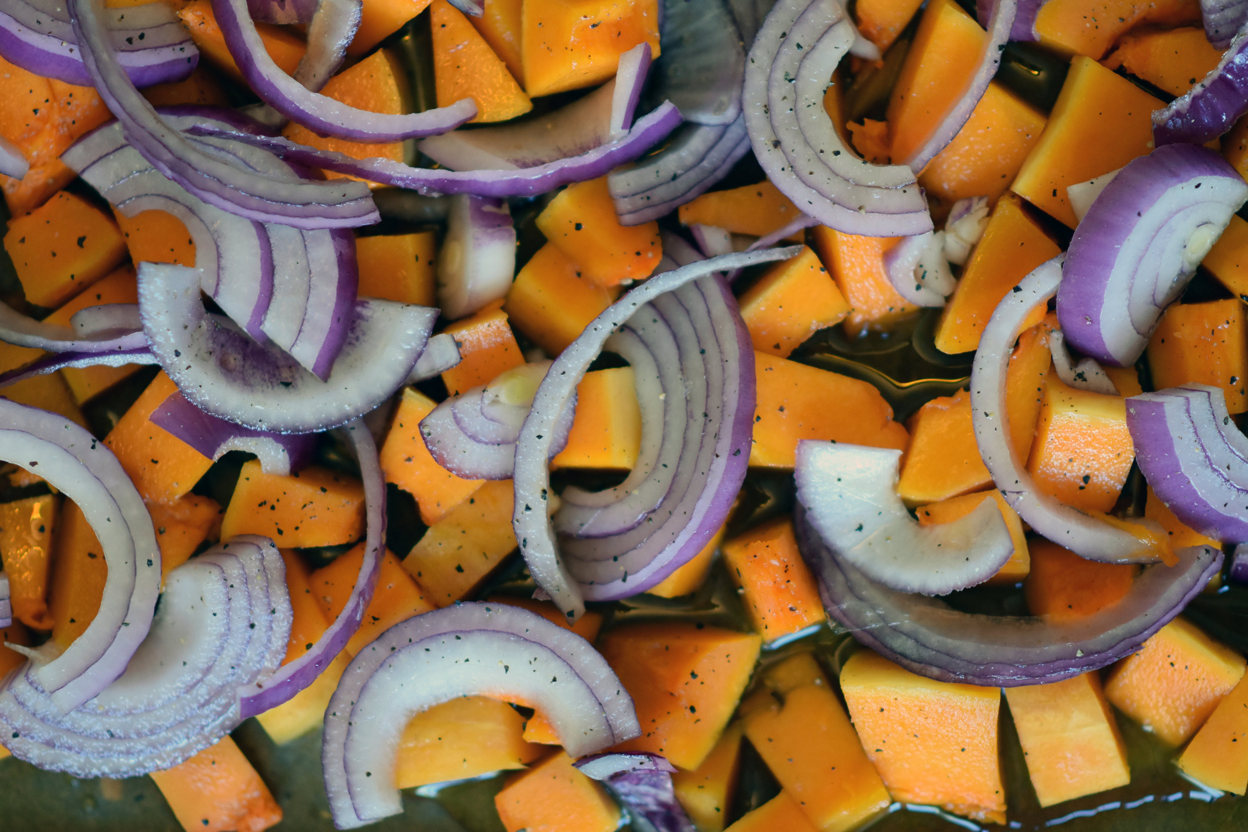 maple drizzled squash & red onion -