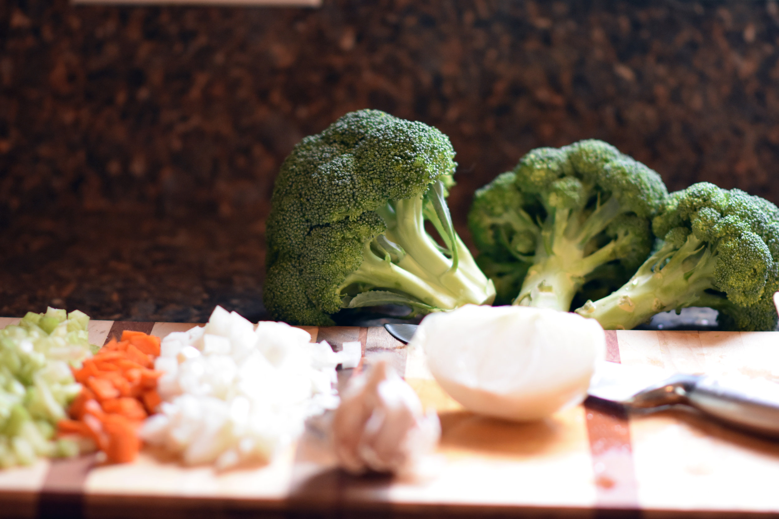 all the veggies - chop those broccoli crowns into florets