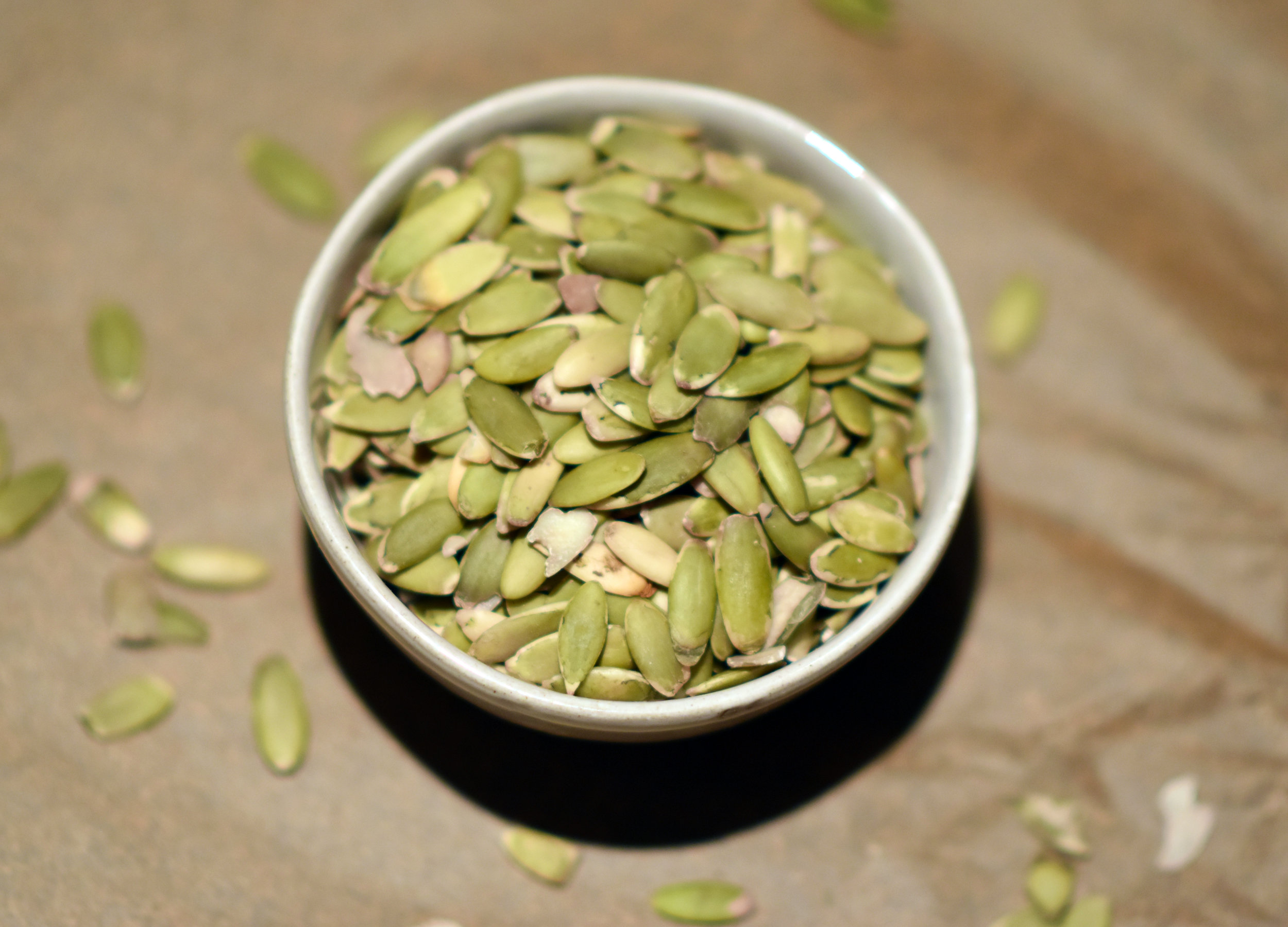 raw pumpkin seeds - measured out