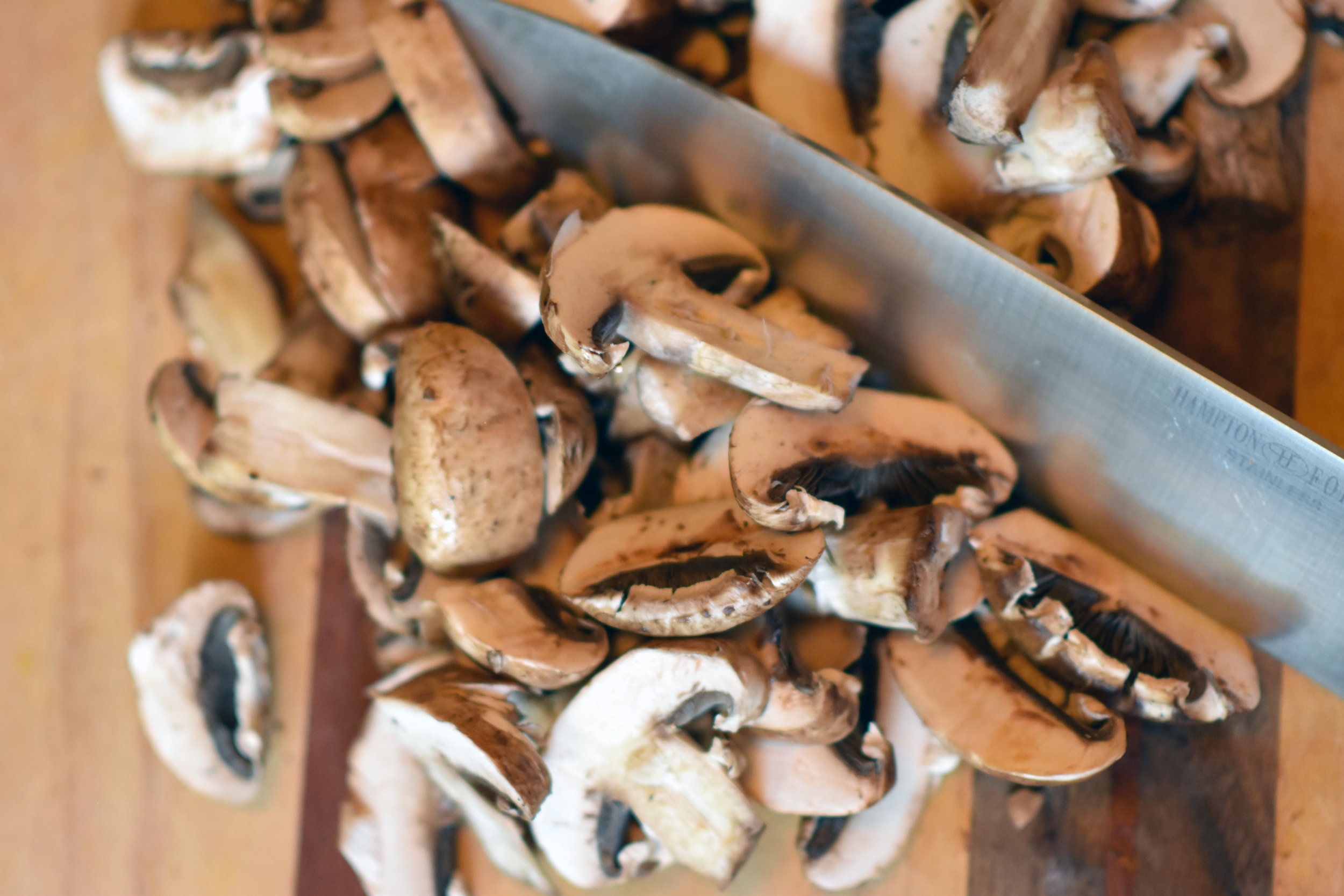 cremini mushrooms - on the chopping block