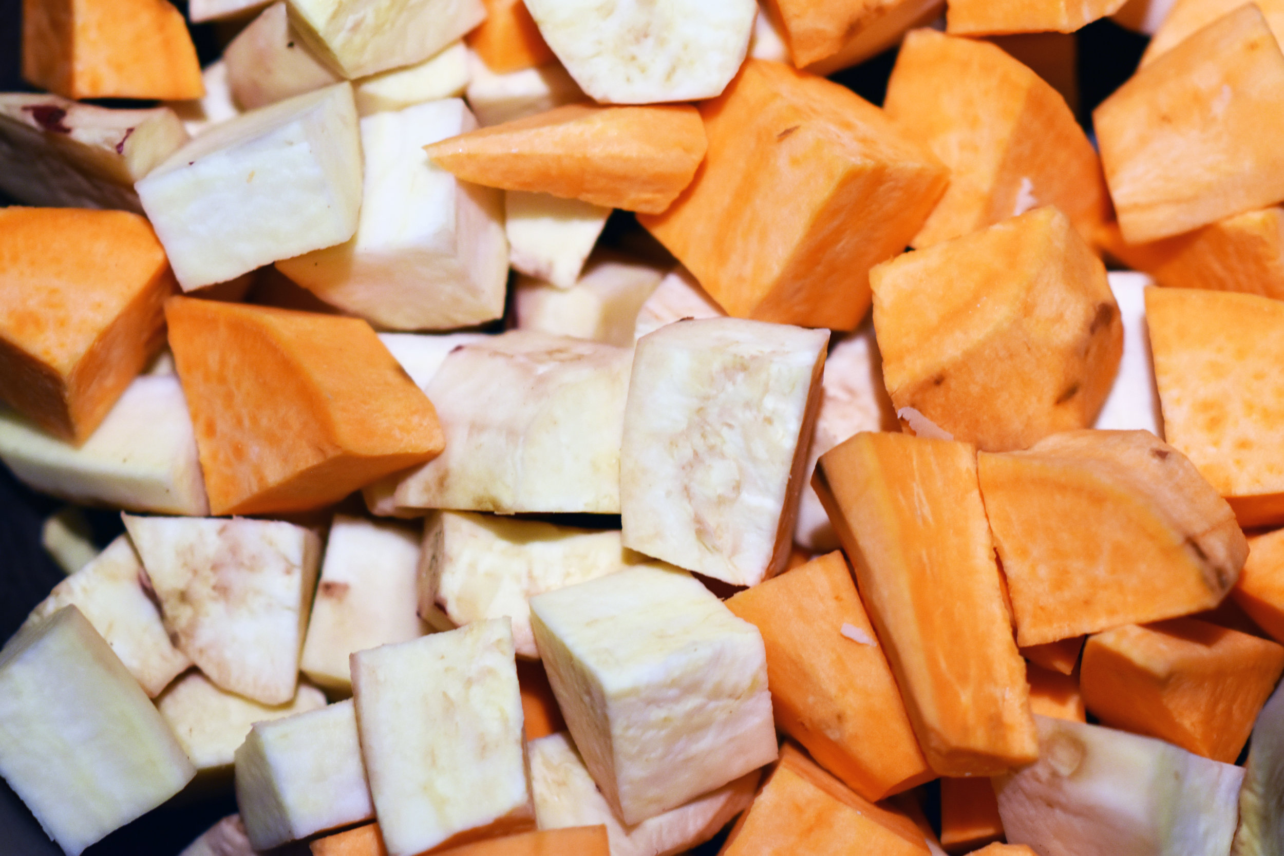 cubed sweet potatoes - i use a variety because diversity. use what you've got.