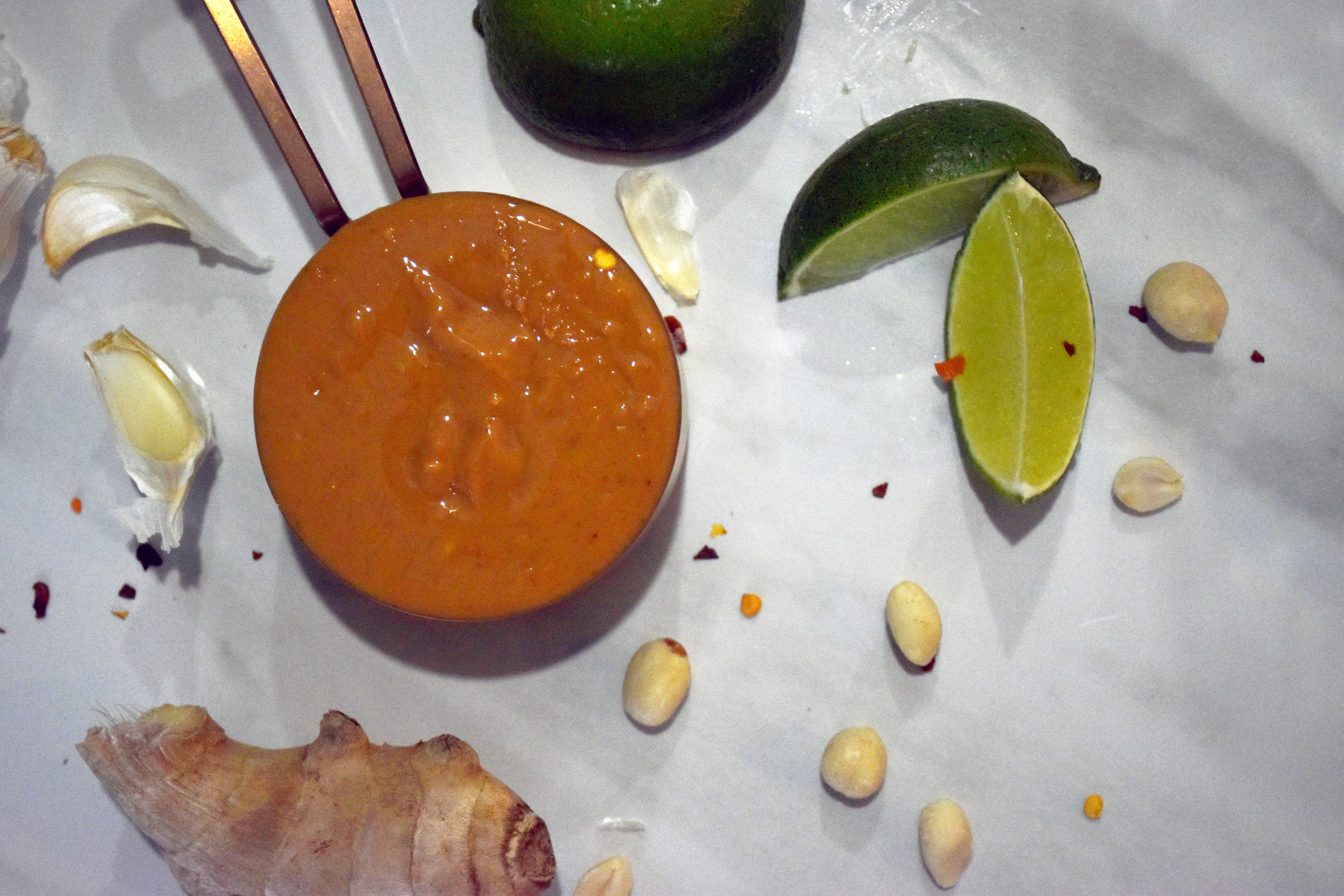 the makings of peanut sauce - the makings of happiness