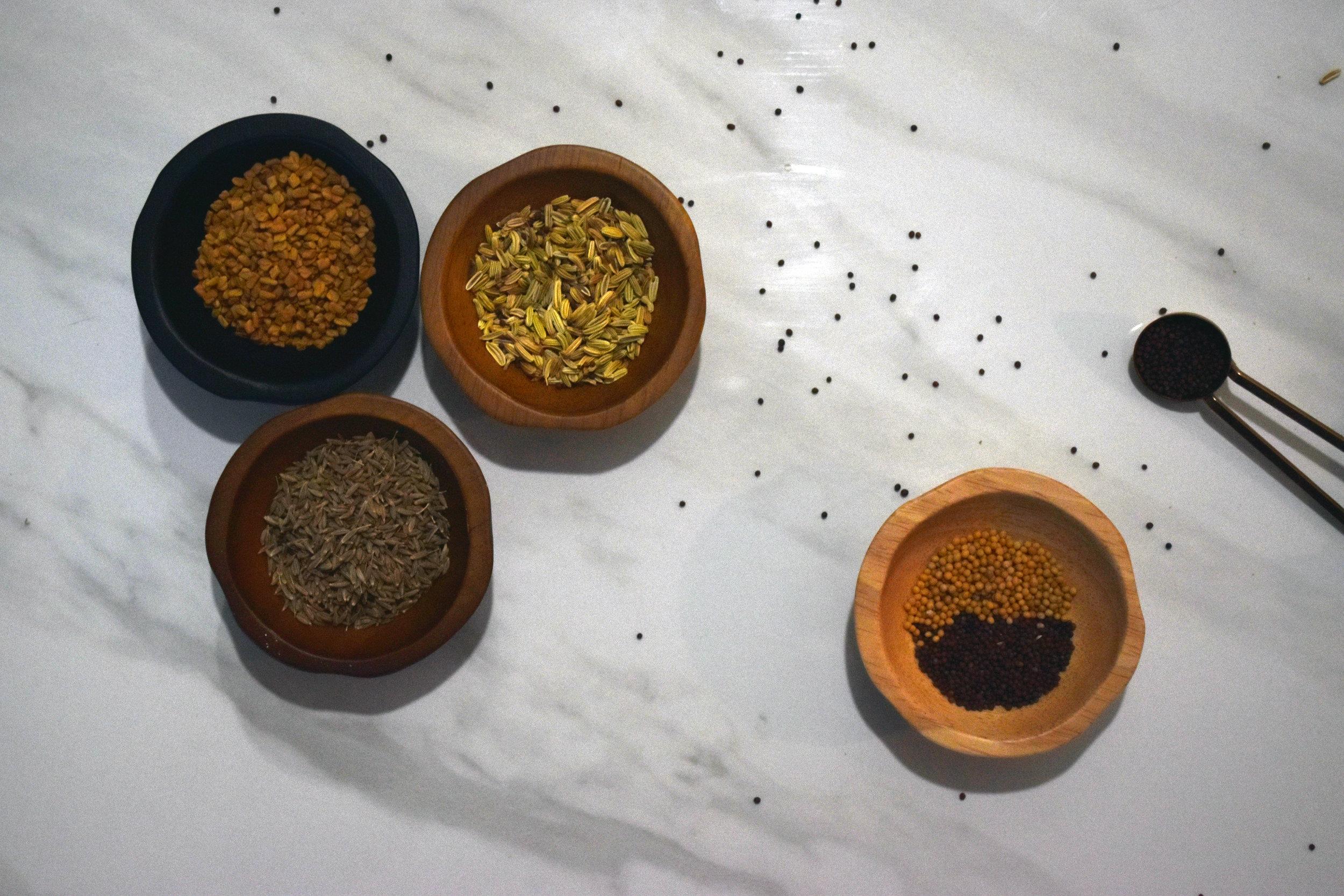 fennel, fenugreek, mustard, cumin - seedy little buggers