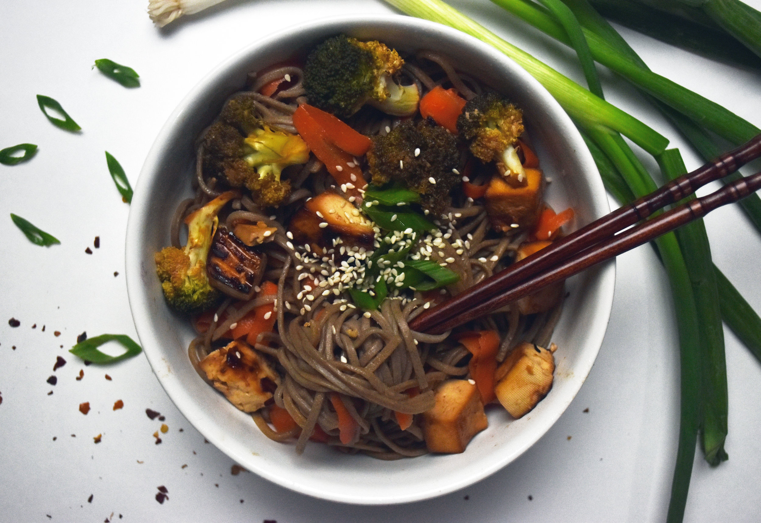 vegan sesame soba noodle bowl - shockingly better than soy sauce soaked frozen stir fry