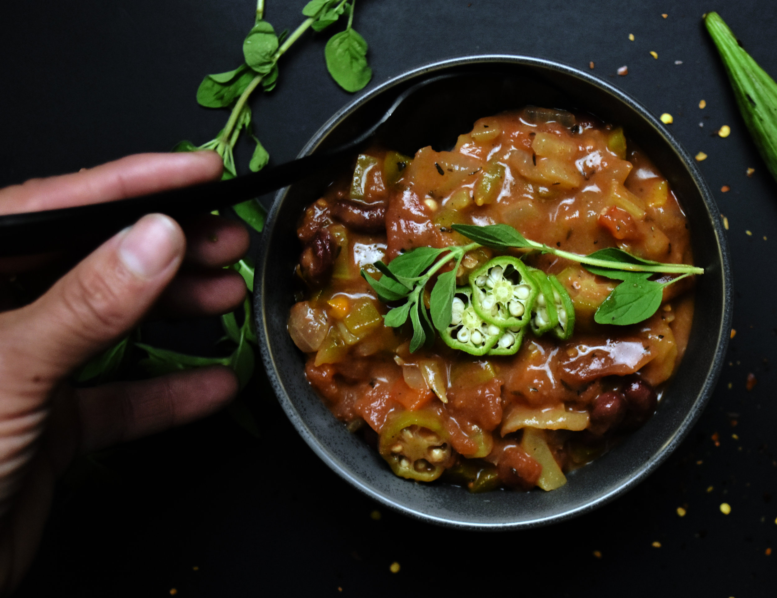 vegan gumbo - the best way to refuel after spending a day in the woods getting dirty