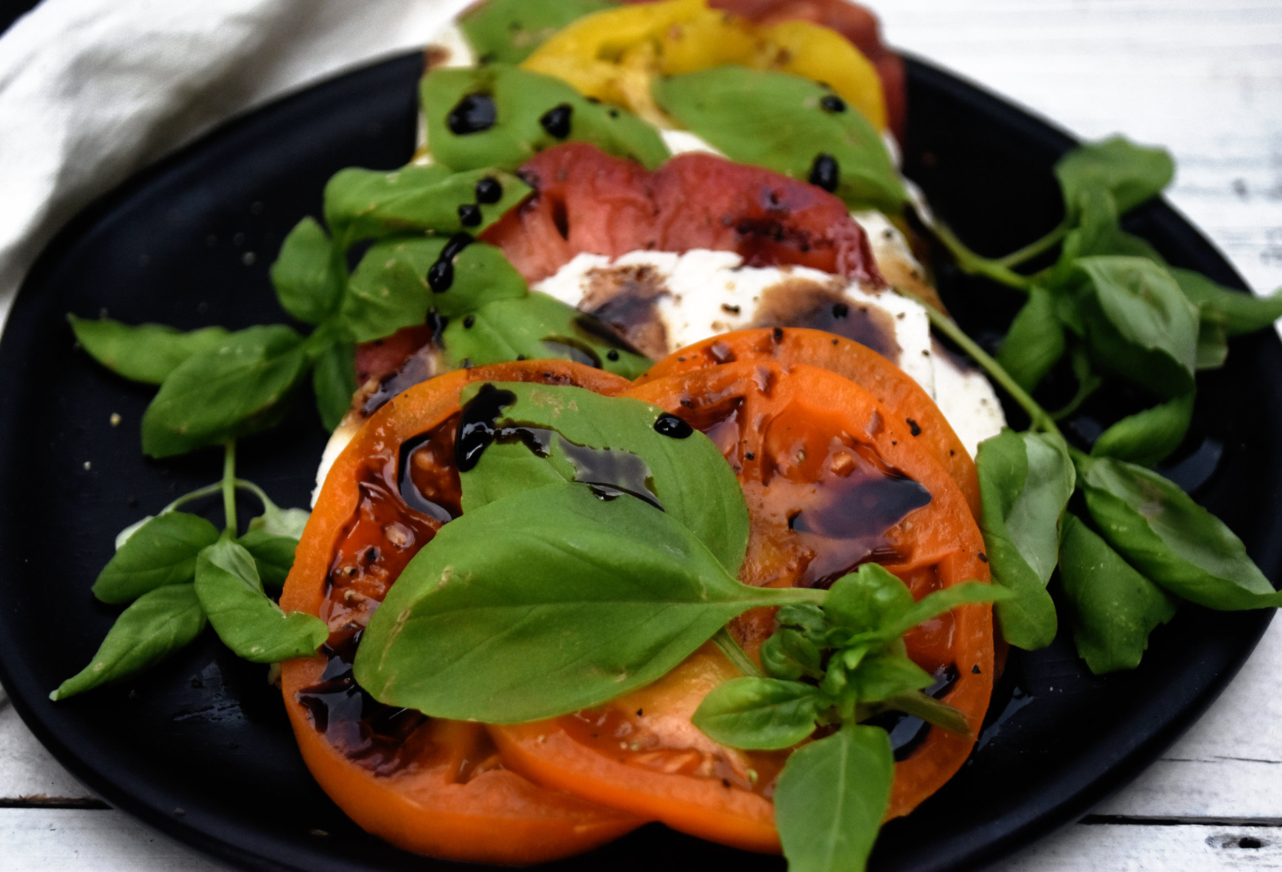 vegan caprese salad with heirloom tomatoes - keep to the simple