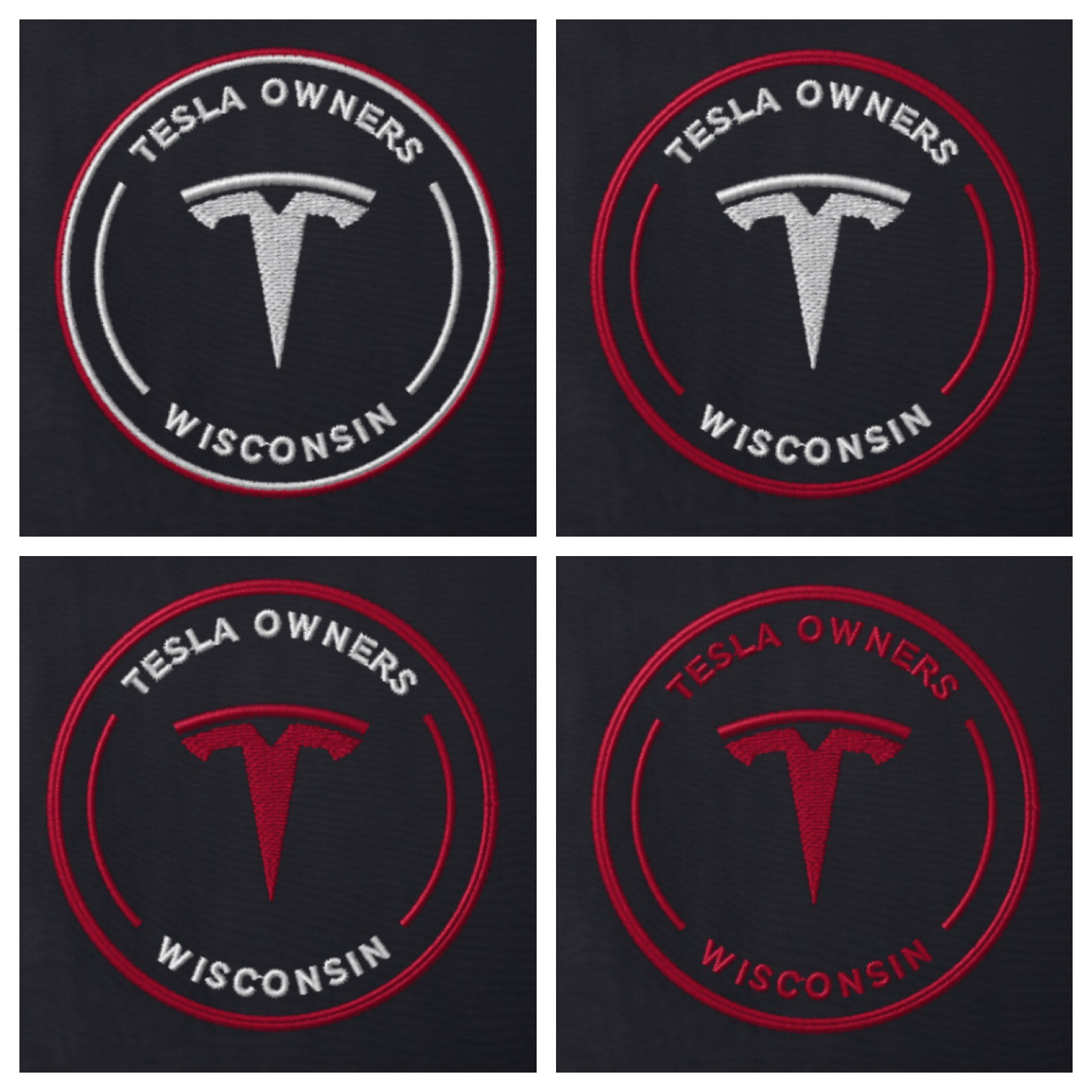 Click the Tesla owner's club Logo to be directed to Lands' End business site - Our logo utilizes four-needle construction, meaning you can select color options on your logo to your preference