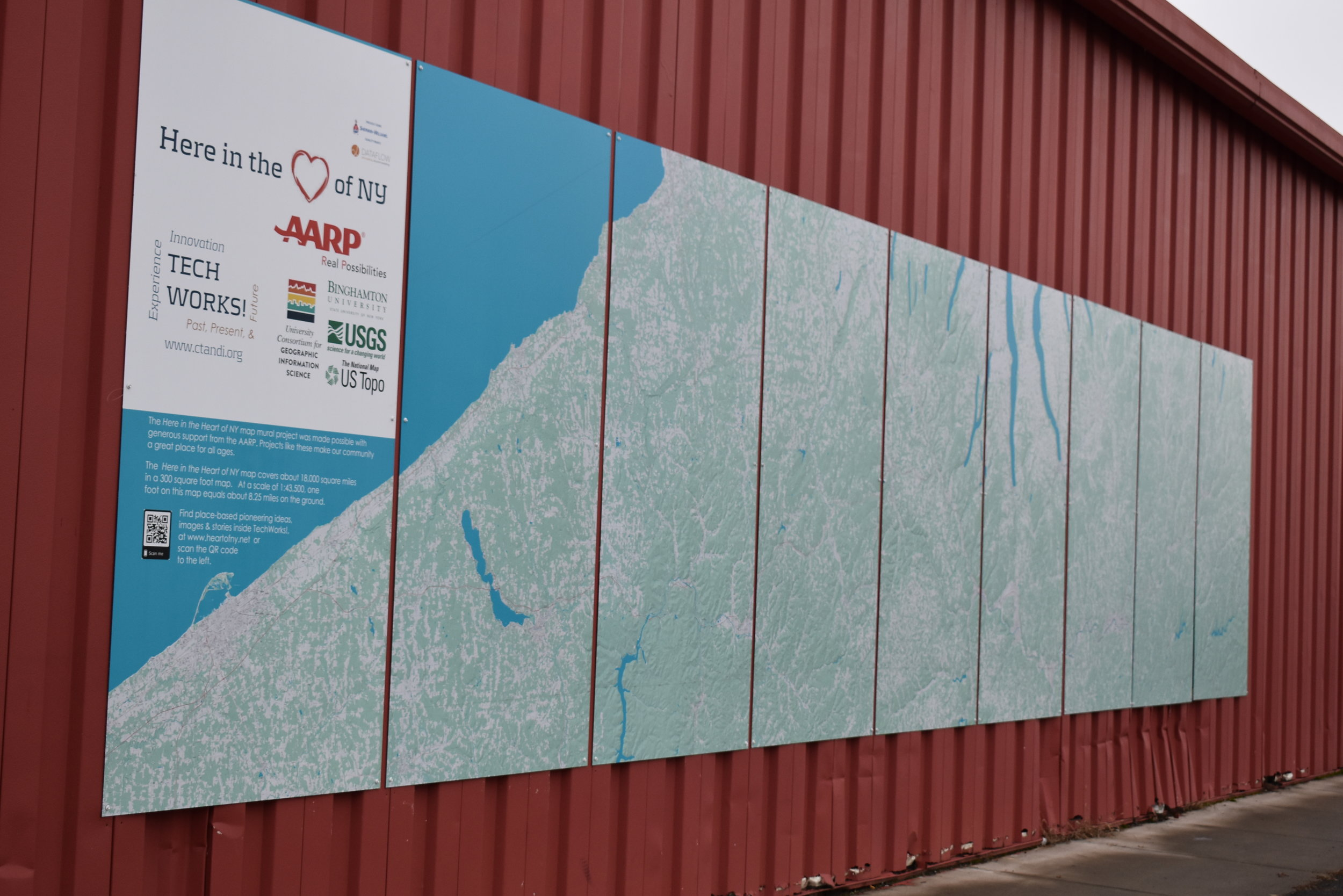 Here in Heart of NY - 18,000 square miles mapped in 300 square foot mural at TechWorks!, 321 Water Street, Binghamton, NY From the source of the Susquehanna River near Cooperstown, NY in the NE corner to Lake Erie, with a slice of Northern Tier of Pennsylvania.