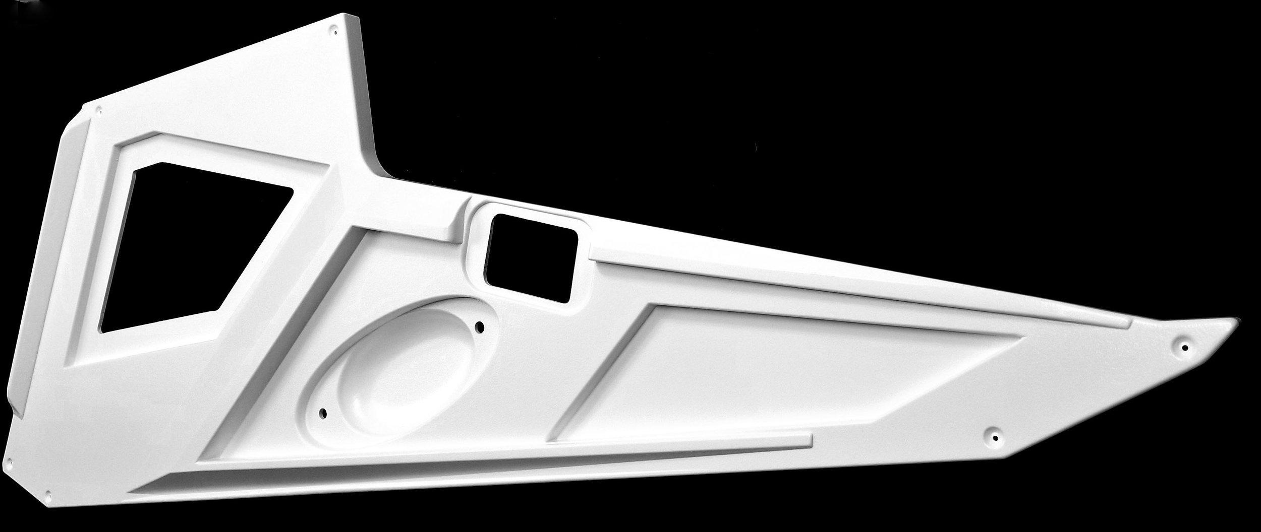 Pressure Thermoforming - Sharper crisper edges, more detail, multi-pattern mold texture, improved tolerancesDecorative side panels for bass boat manufacturer