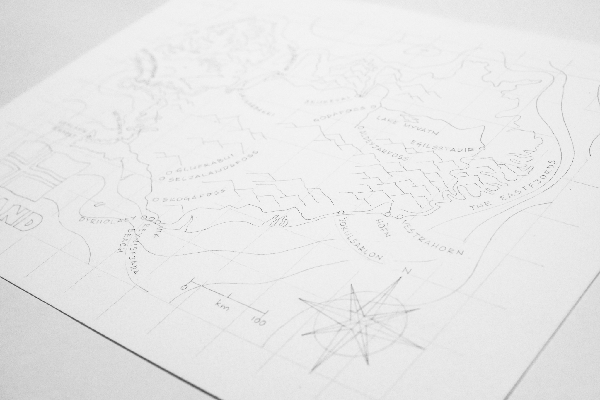 Next, I added the places we visited along the way, as well as some features to make the map more interesting. I also pencilled in some depth contours in the ocean to add more character.