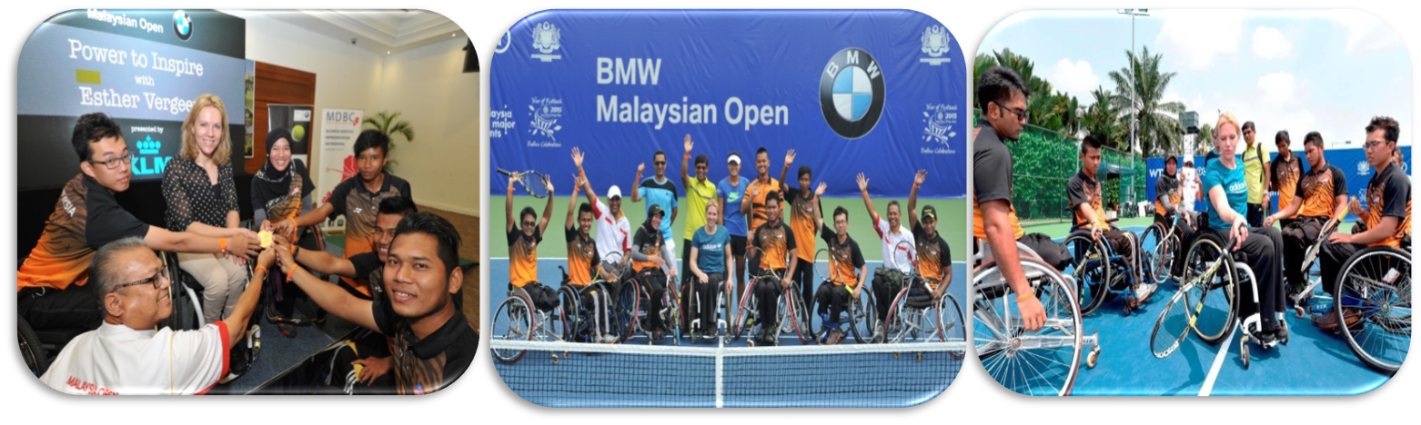 "WHEELCHAIR TENNIS 'POWER TO INSPIRE"" WITH ESTER VERGEER (BMW OPEN)   Participants: 154 able and disable athletes    Members of Wheelchair Tennis Malaysia (WTM) Participants:  Esther Vergeer -  7 times Paralympic Gold medalist, winner of 42 Grand Slam titles"