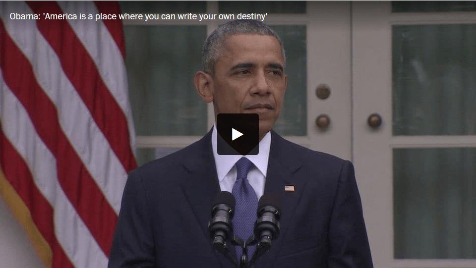 """""""América es un lugar donde puedes escribir tu propio destino"""". Declaraciones de Obama por el fallo de la Corte Suprema sobre el matrimonio entre personas del mismo sexo. Fuente: The Washington Post."""