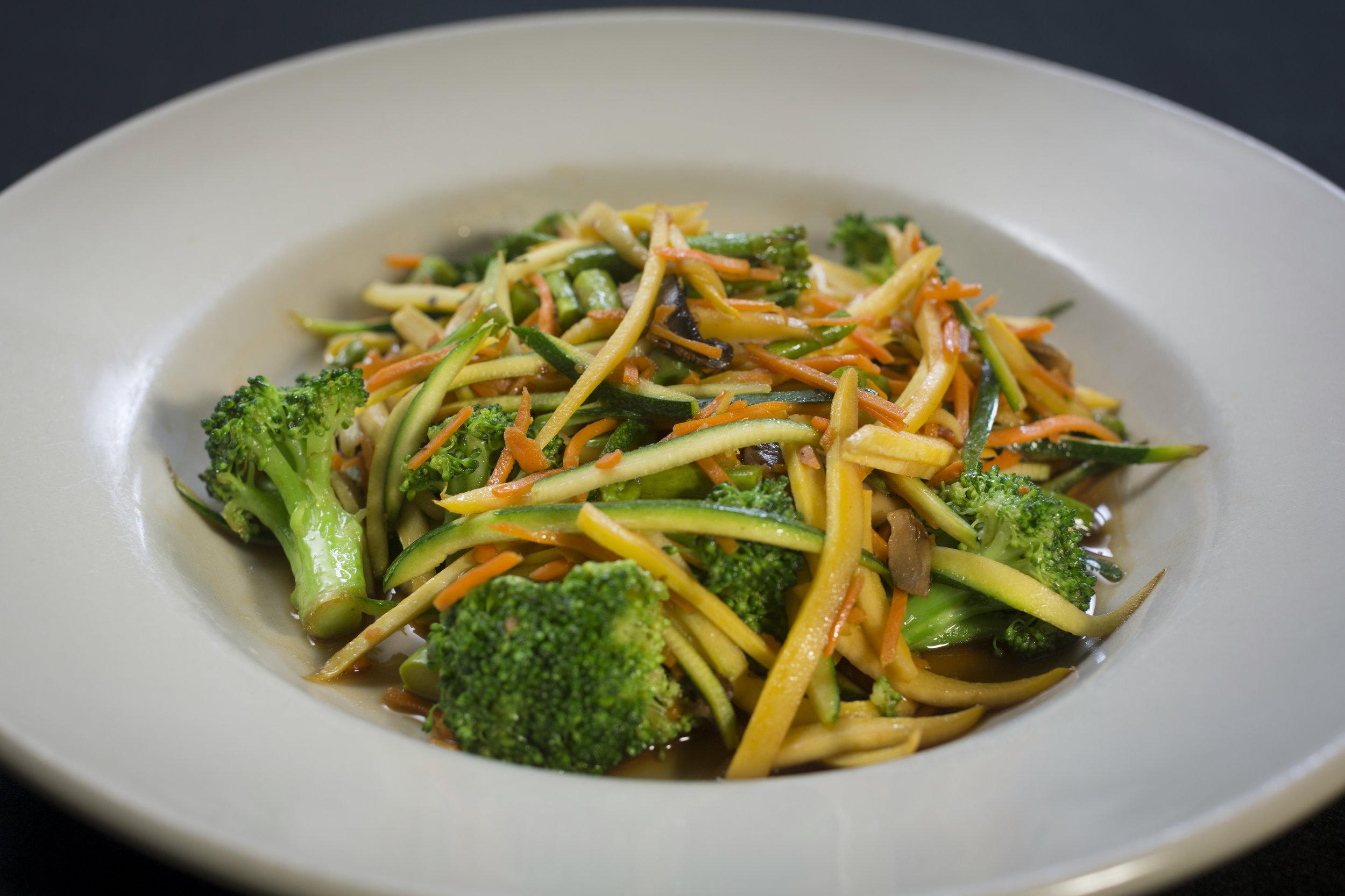Plated bright veggie food item