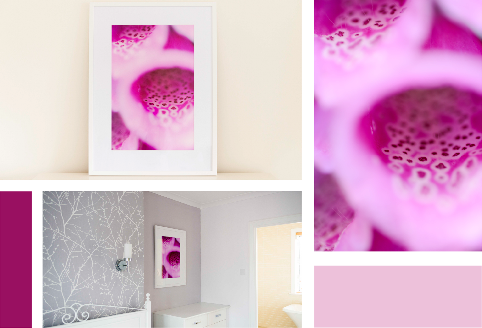 Soft geometric form, interspersed with floating rosettes and intense colour; this piece provides an eye-catching focal point for sophisticated modern interiors. - Original artwork by Donna Lloyd.Limited-edition. 150 in existence.This high resolution artwork comes with a signed Certificate of AuthenticitySize65cm x 85cm (framed)More sizes are available. Please contact me for further information.MaterialsPrinted On Fujiflex Super Gloss Archival Paper and supplied in a white, hand painted wooden frame with anti-reflective glass as standard. Frames are available in a range of colours. Please contact me separately for prices and timelines for other frame options (Extra charges may apply).