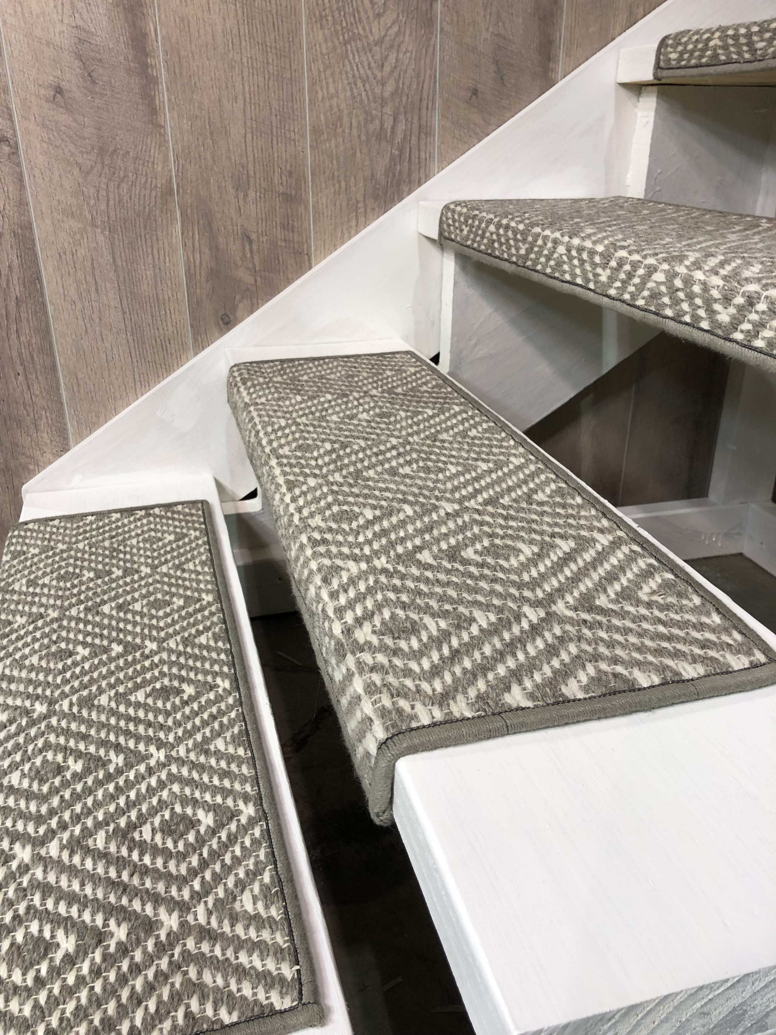 "Custom made SQUARE EDGE stair tread shown in Medium Grey ""TAHOE"" by J MISH."