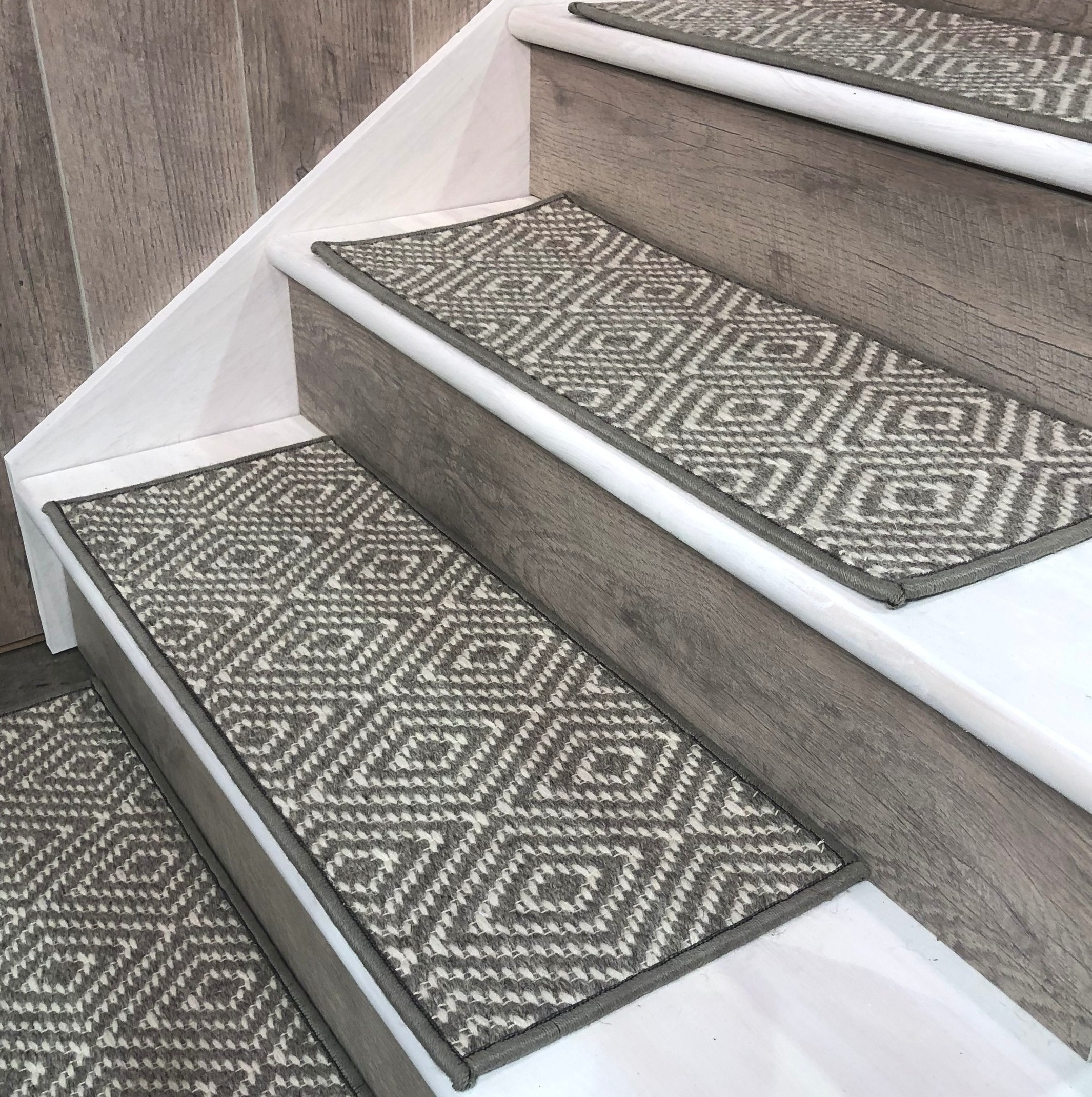 """Traditional FLAT stair tread shown in Grey """"TAHOE"""" by JMISH. Historically the most common type of stair covering."""