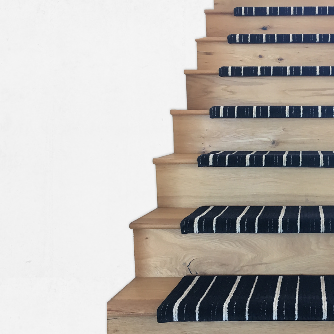 EASY INSTALL CARPET STAIR TREADS & RUNNERS. - Handcrafted carpet stair treads, runners, and landings made with 100% New Zealand Wool and STAINMASTER PetProtect nylon to fit any stairs with a bullnose (round edge), square edge, or the traditional flat tread.