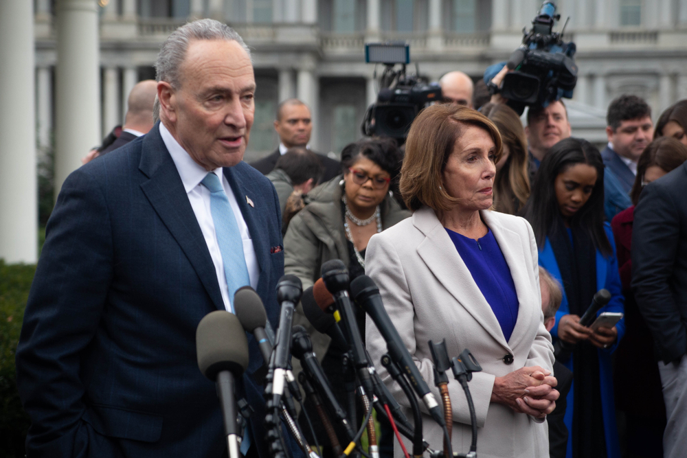 Schumer and Pelosi outside the White House earlier this year. (Image: Shutterstock)