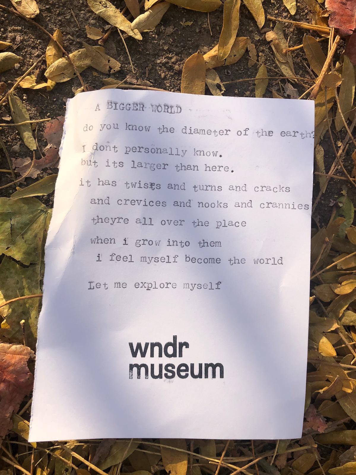 Custom Poem created at WNDR Museum.