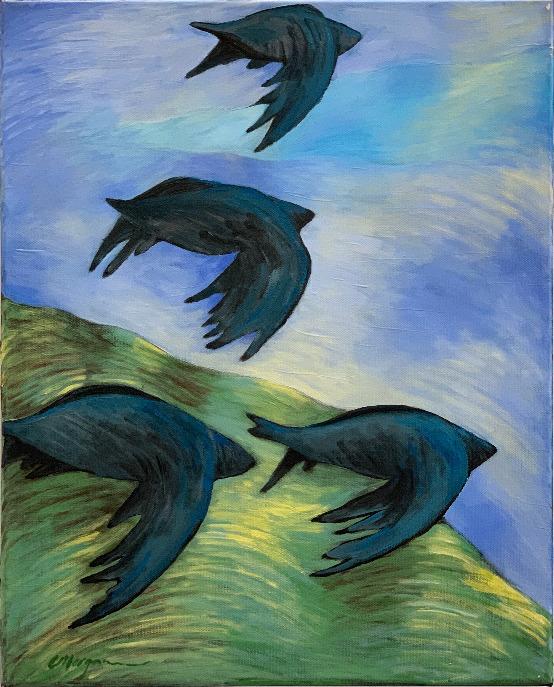 "Cindy A Morgan - ""School of birds"" For Sale: $360"