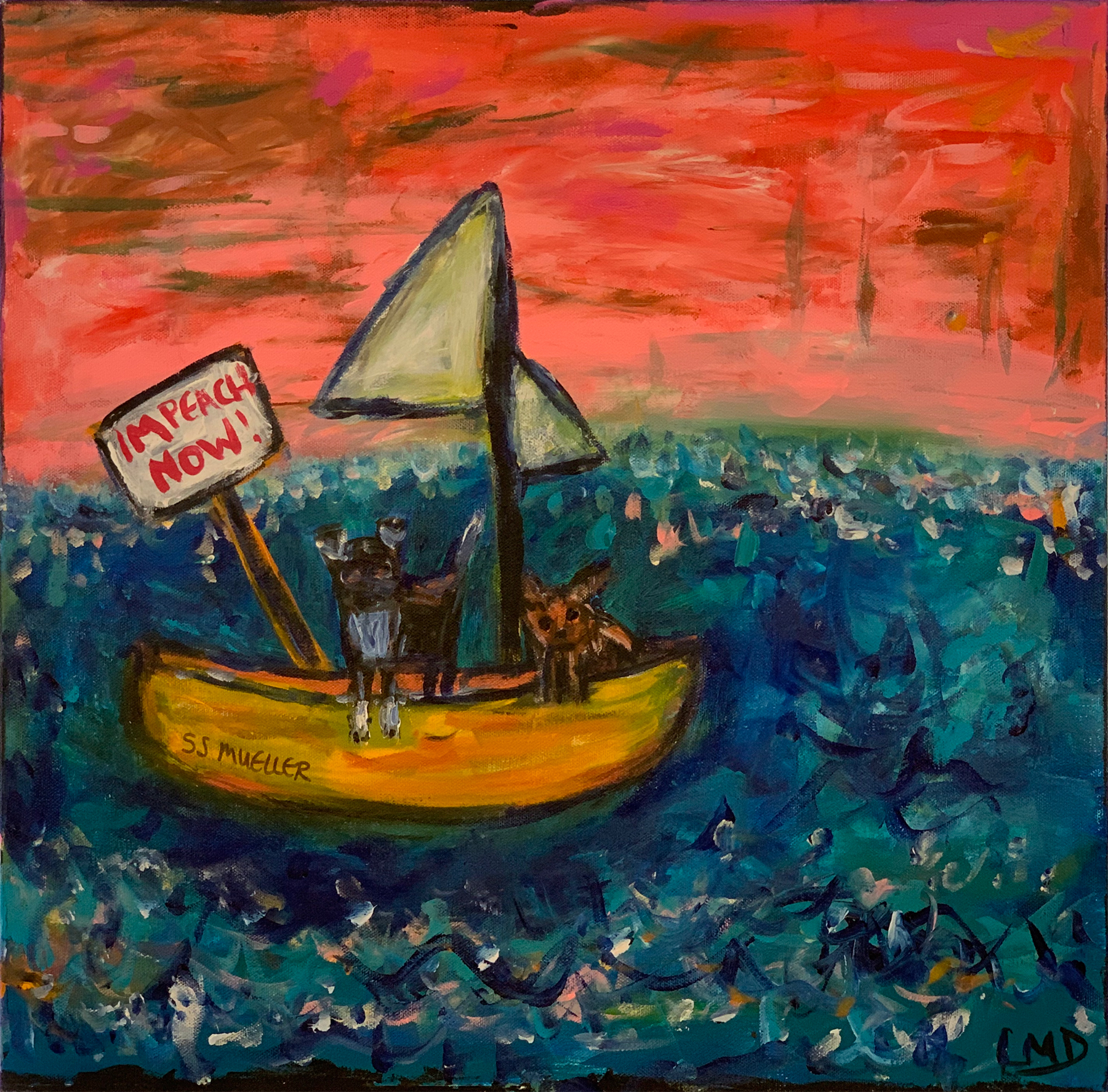 "LInda Dulleba - ""The dogs take their protest to the high seas"" For Sale: $150"