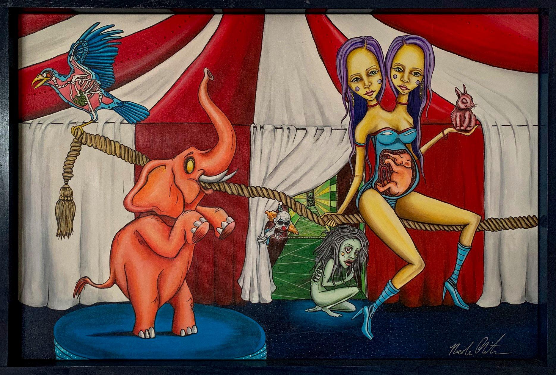 "Third Place (Tie) Nicole Christman - ""Cirque Du Horreur"" Insta: @nicolechristmanart  For Sale: $600"