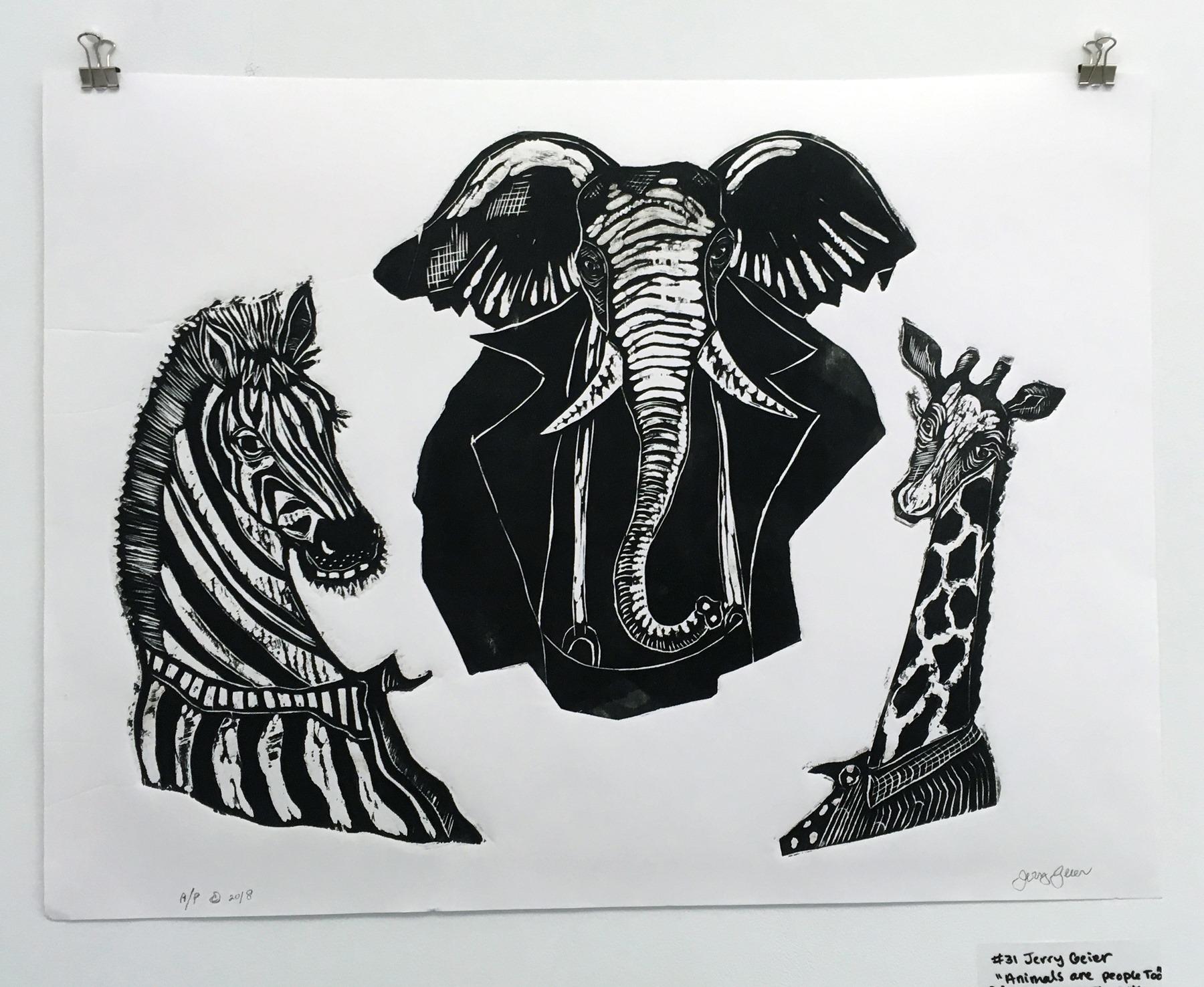 "Jerry Geier - ""Animals are people too"" Insta: @jerrygeierartwork  For Sale: $35"