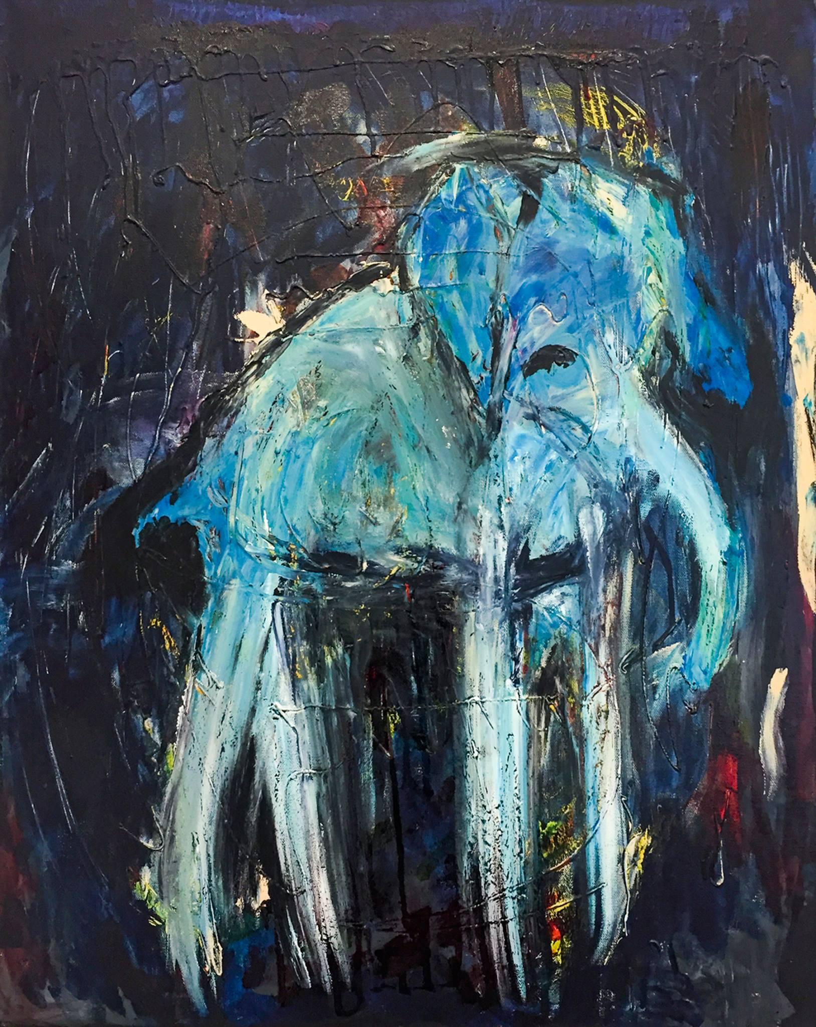 "Linda Dulleba - ""Blue Elephant"" For Sale: $400"