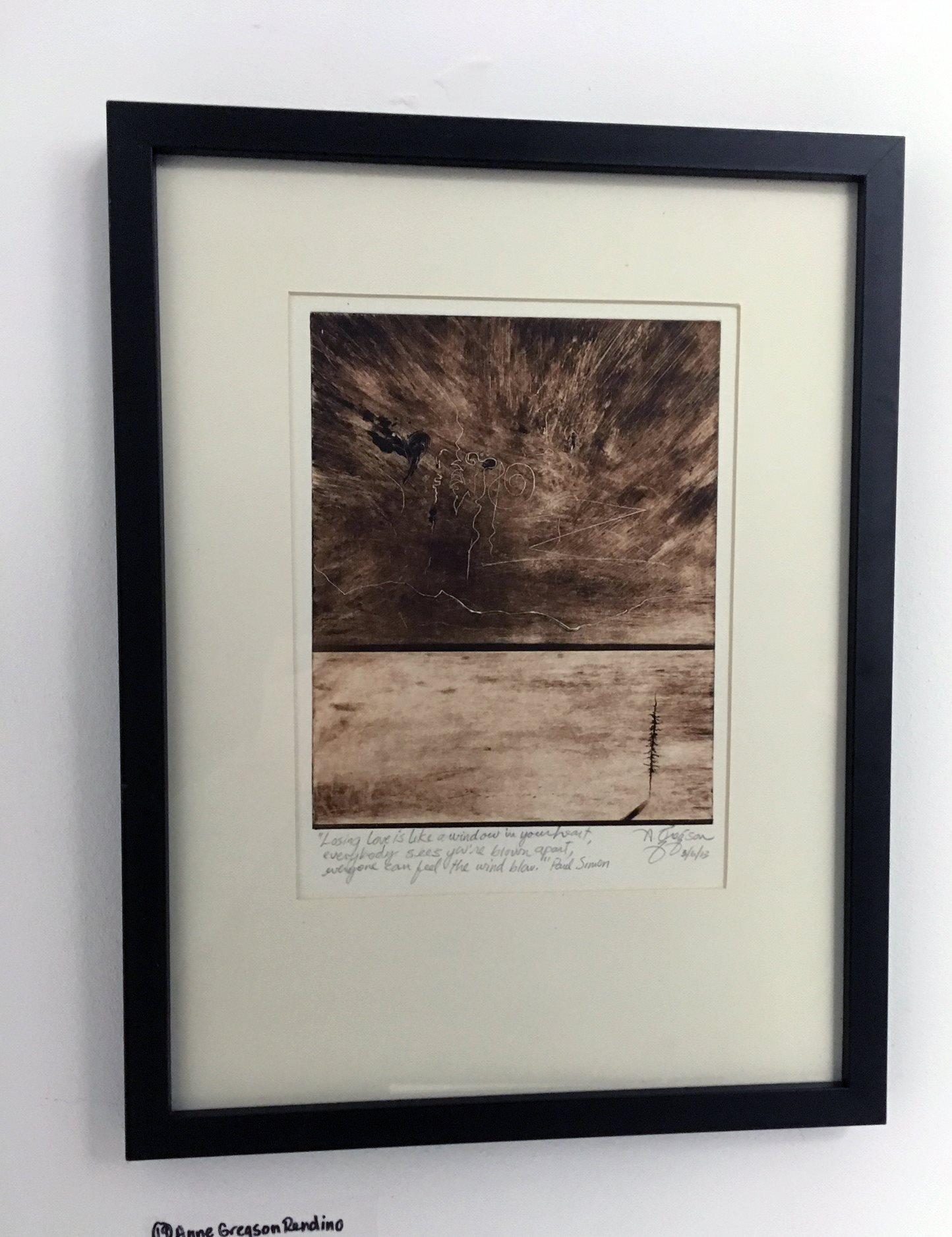 "Anne Gregson Rendino - ""Losing Love is like a window on your heart"" For Sale: $110"