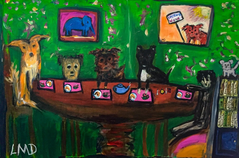 "LInda Dulleba - ""Tiny Dog's Tea Party"" For Sale: $500"