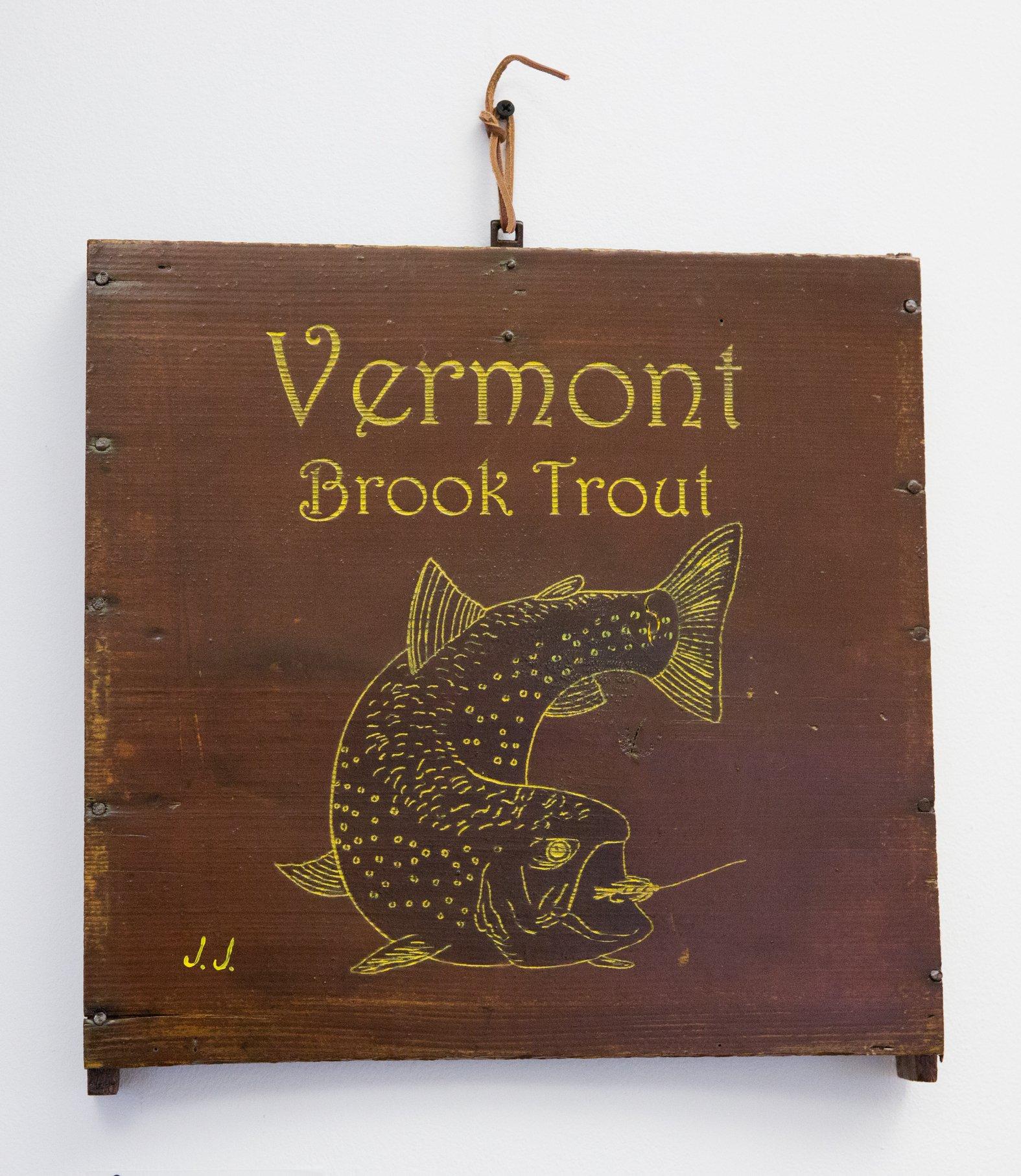 "Jerry Johnson - ""Vermont Brookie on Antique Sap Bucket"" For Sale: $99"