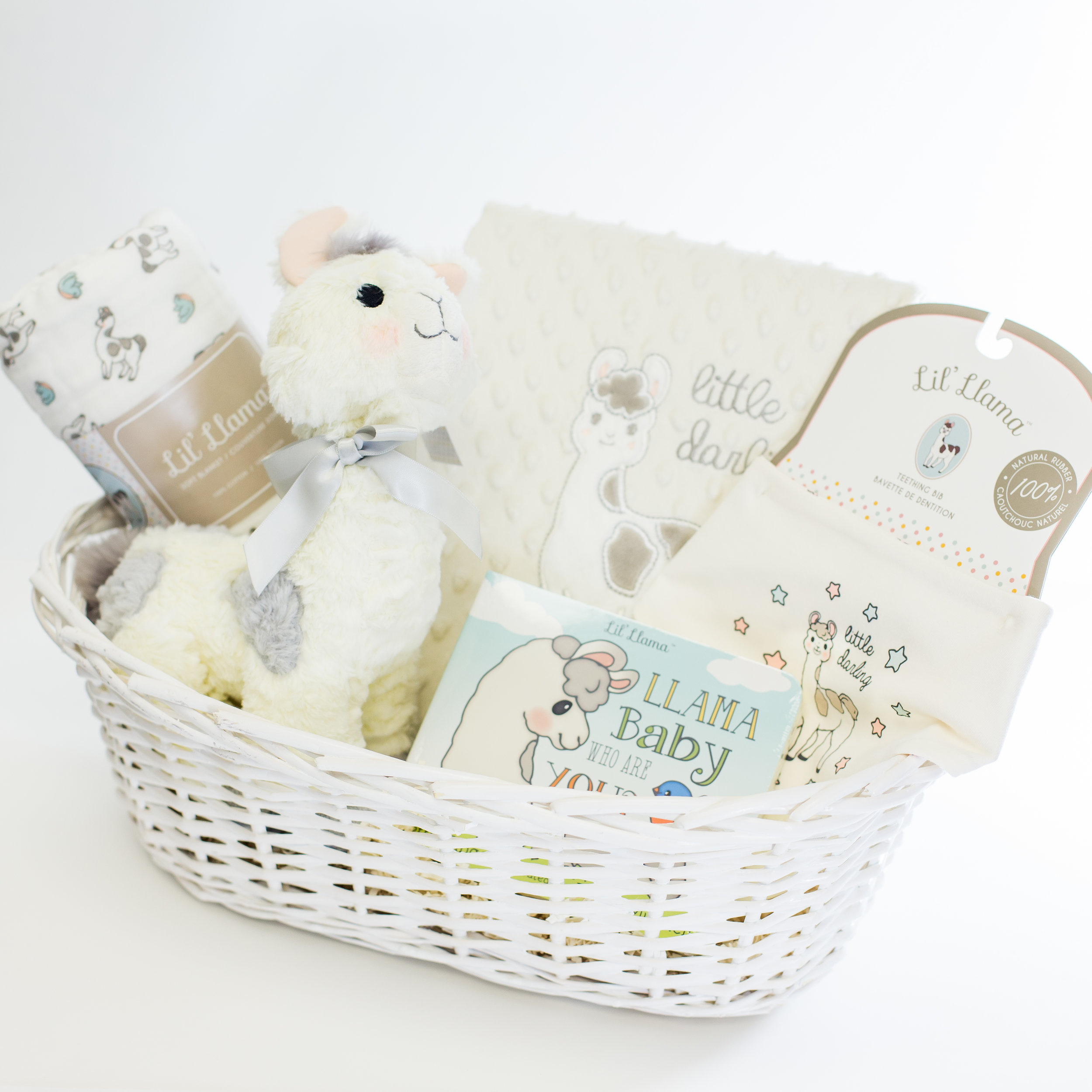 NEUTRAL LLAMA MIX+MATCH BABY BASKET -