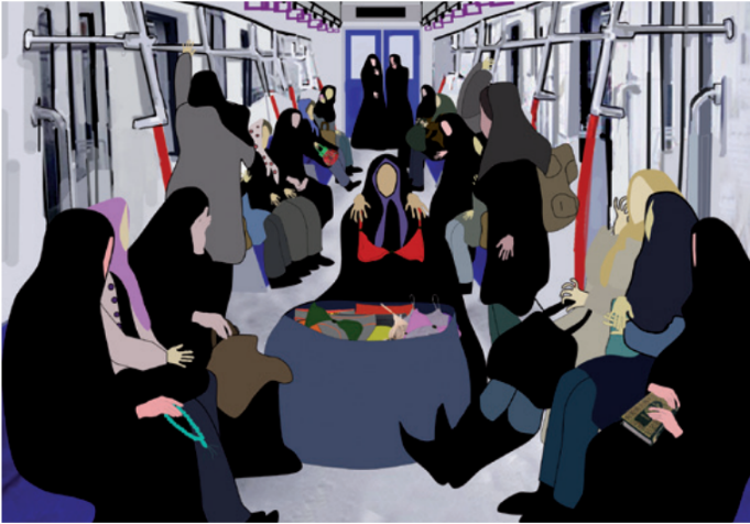 Image from the animated art work 'Line 1' by Niyaz Azadikhah, Iran