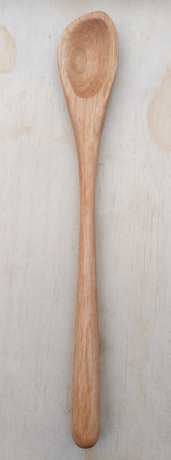 "Curved spoon, maple, right handed, 12.5"" long."