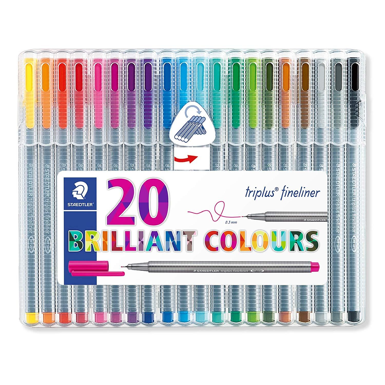 Staedtler Triplus Fineliner Pens, .3mm, Metal Clad Tip, 20-Pack, Assorted