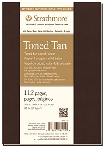 """Strathmore Softcover Toned Tan Art Sketch Journal, 5.5""""x8"""", 56 Sheets"""