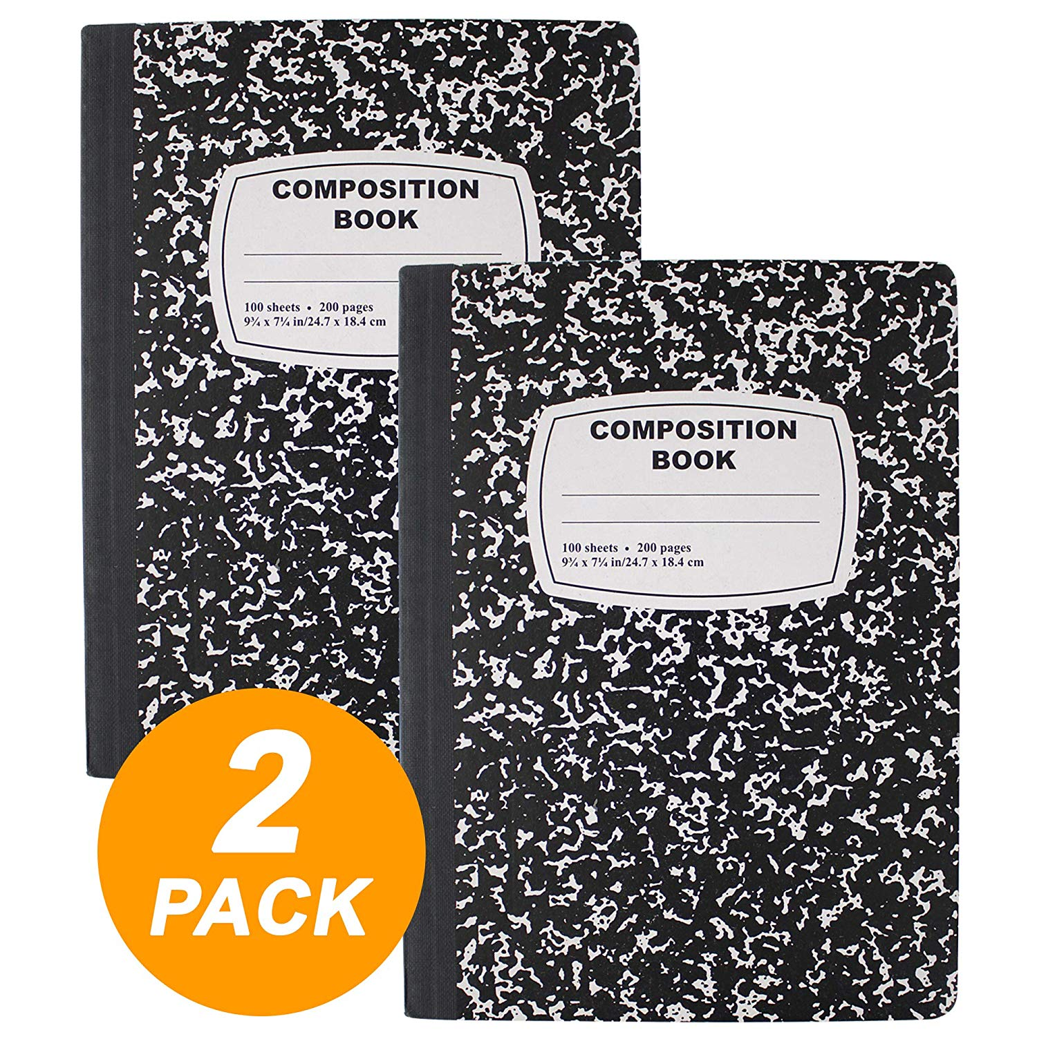 Black & White Marble Composition Book with 100 Sheets of Wide Ruled White Paper (2 Pack)
