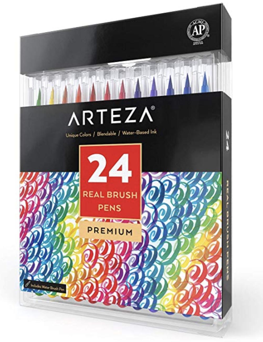 Arteza Brush Pens • Water based ink 24-Pack
